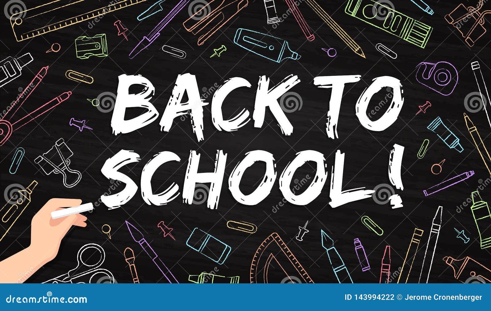 Popiera szkoła - biurowe dostawy rysować z kredą na blackboard