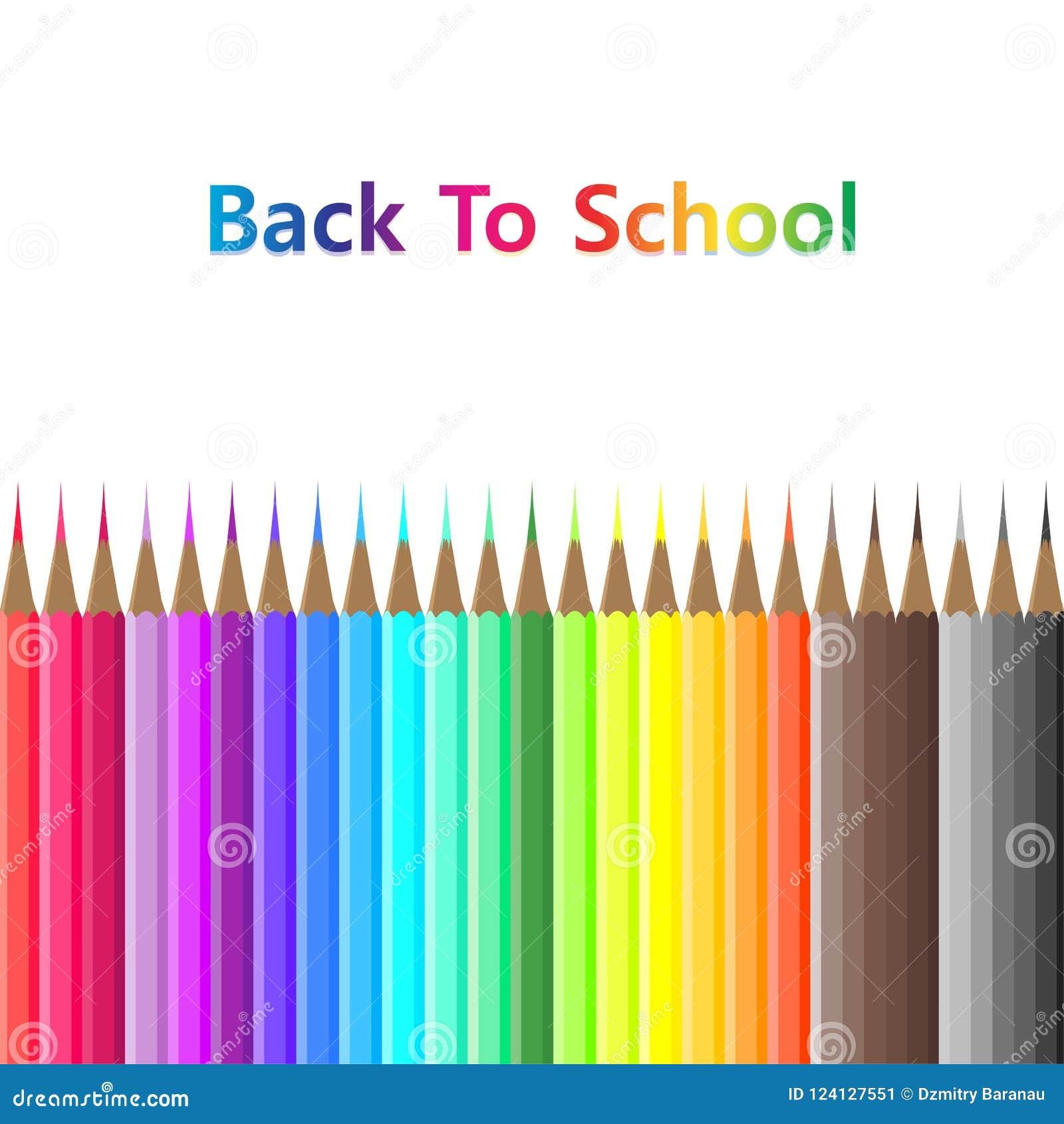 Popiera szkoła koloru przedmiota wyposażenia ołówkowy tło Wektor odizolowywający graficzny materiały kreskówki narzędzie Szablon