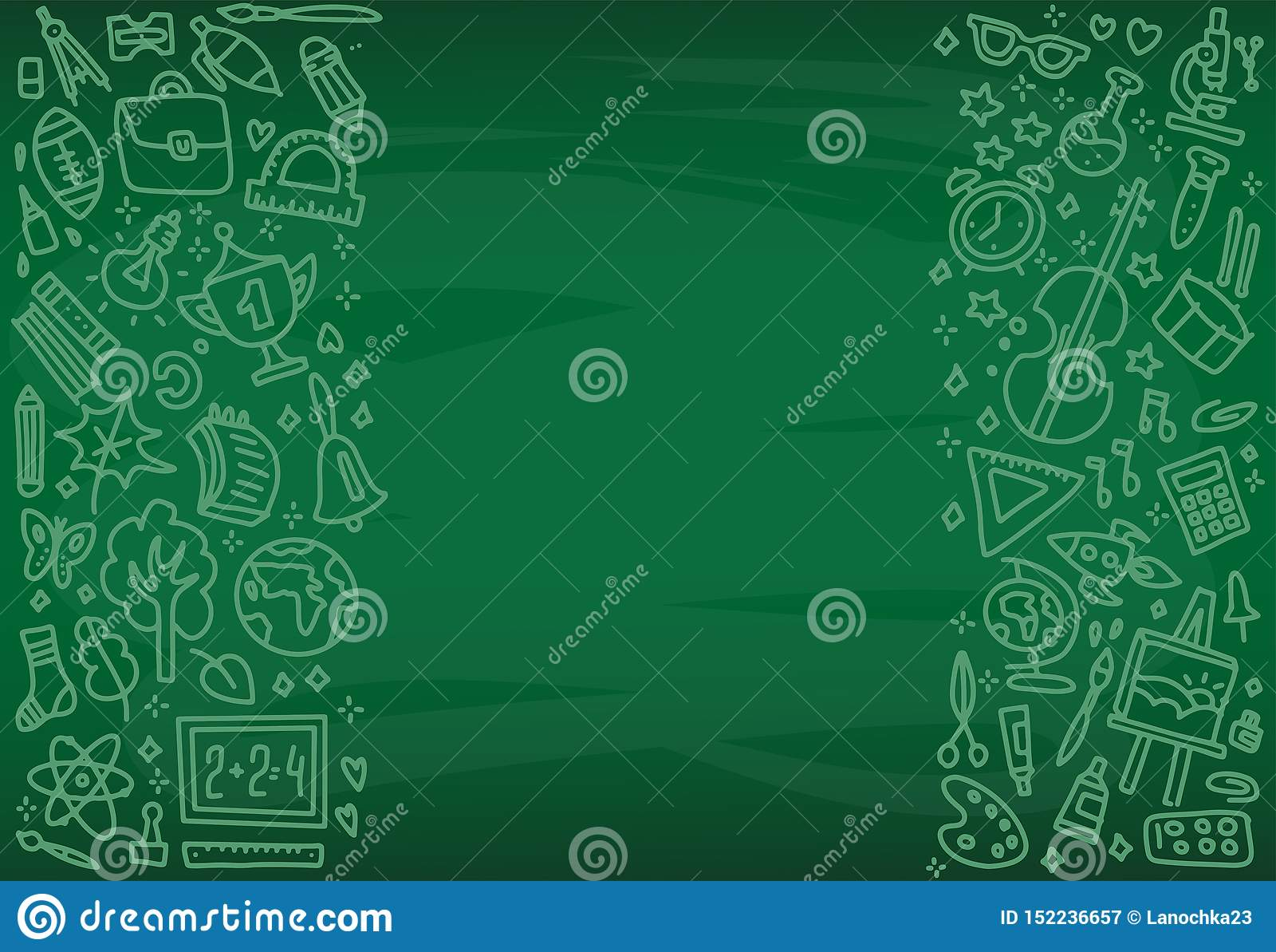 Popiera szkoła plakat z doodle szkoły ikonami na zieleni desce Szkoła przedmioty wręczają patroszonego w kredzie na blackboard Ea