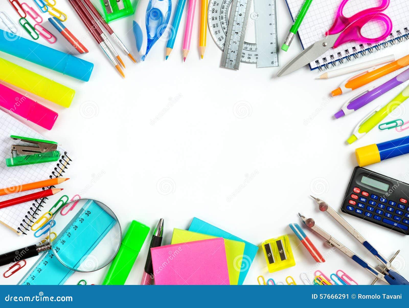 Download Popiera Szkoła - Szkolna Materiały Otoczka Dla Szkoły Obraz Stock - Obraz złożonej z ołówek, edukacja: 57666291