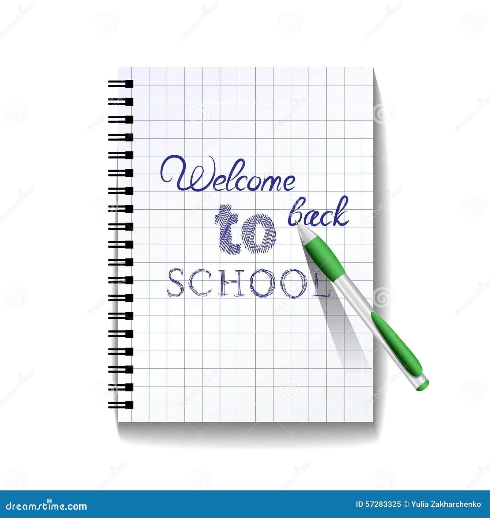 Popiera szkoła tekst na notatnik stronie