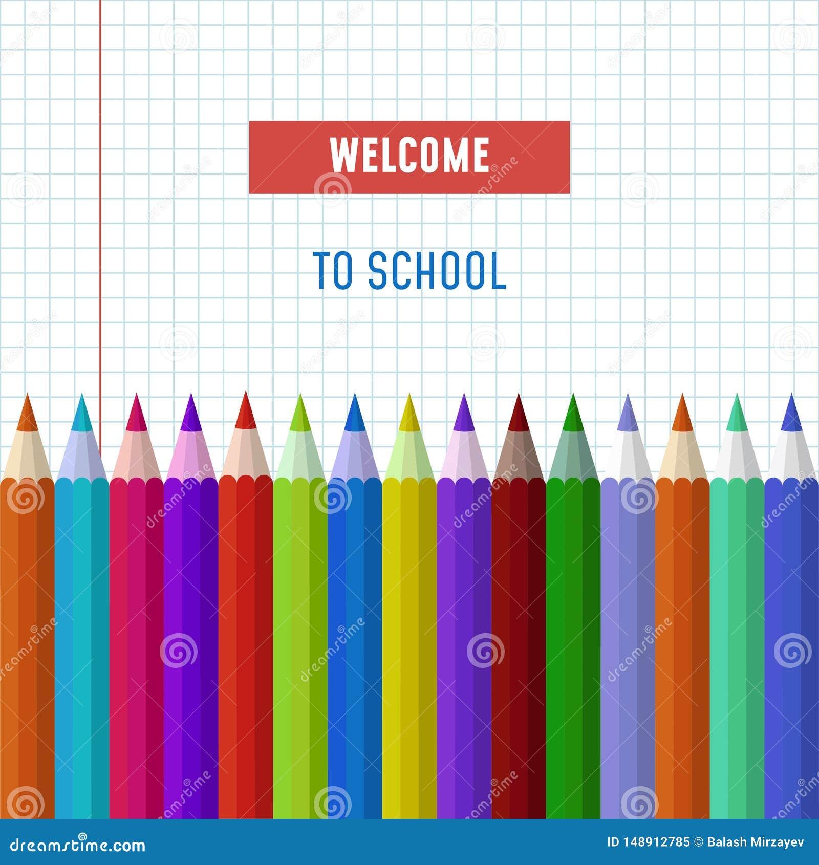 Popiera szkoła teksta wektorowy logo z ołówkami