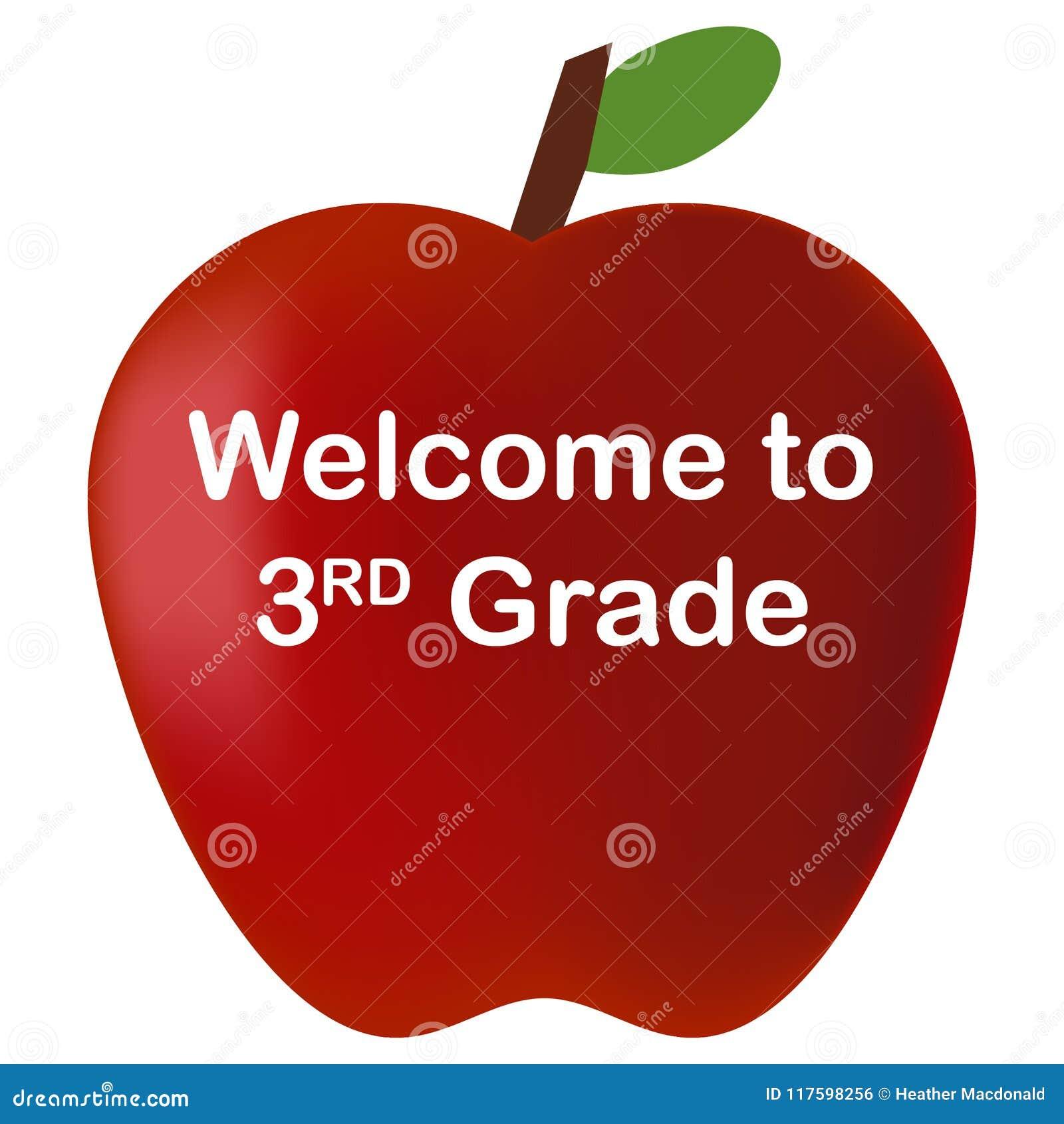 Popiera szkoły powitanie 3rd stopień czerwieni jabłko