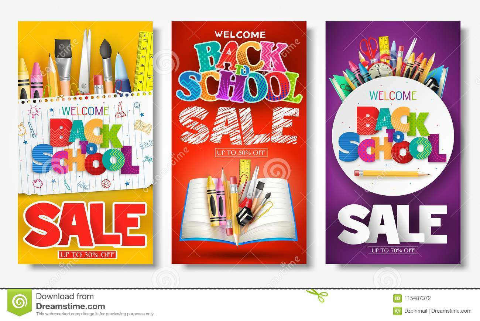 Popiera szkoły sprzedaży reklamy Kreatywnie sztandar i Plakatowy Ustawiający z Kolorowymi tytułami