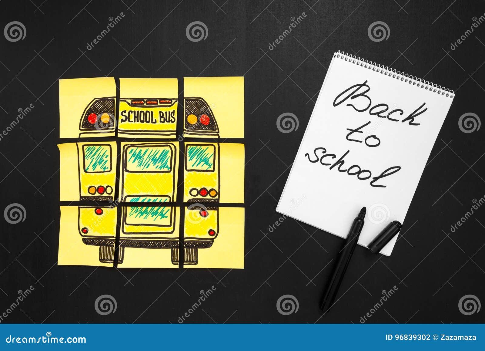 Popiera szkoły tło z tytułowym ` Z powrotem szkoły `, ` autobusu szkolnego ` pisać na i