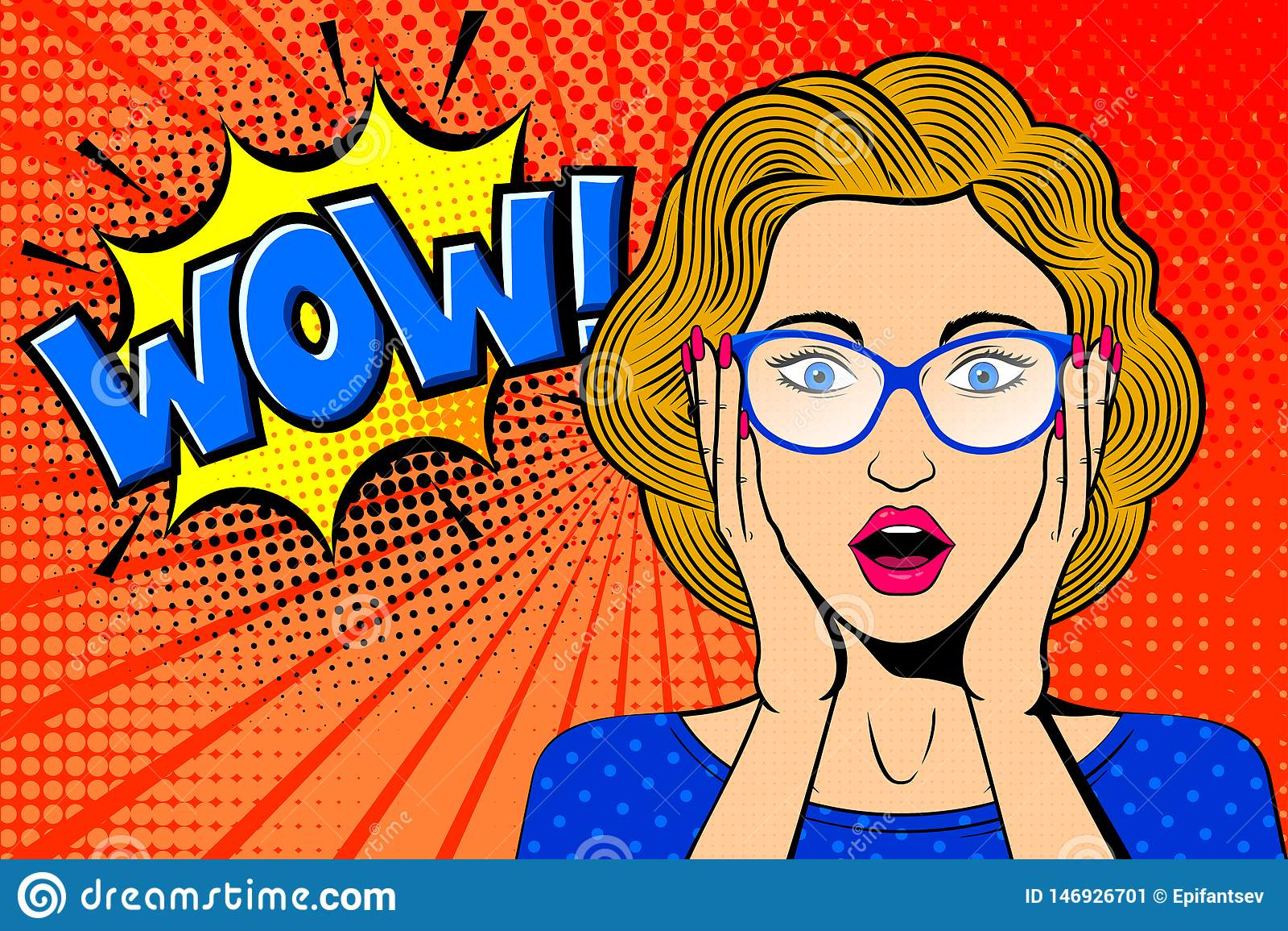 Popkonst f?rv?nade den kvinnliga framsidan Den komiska blonda kvinnan i exponeringsglas med ÖVERRASKAR! anförandebubbla