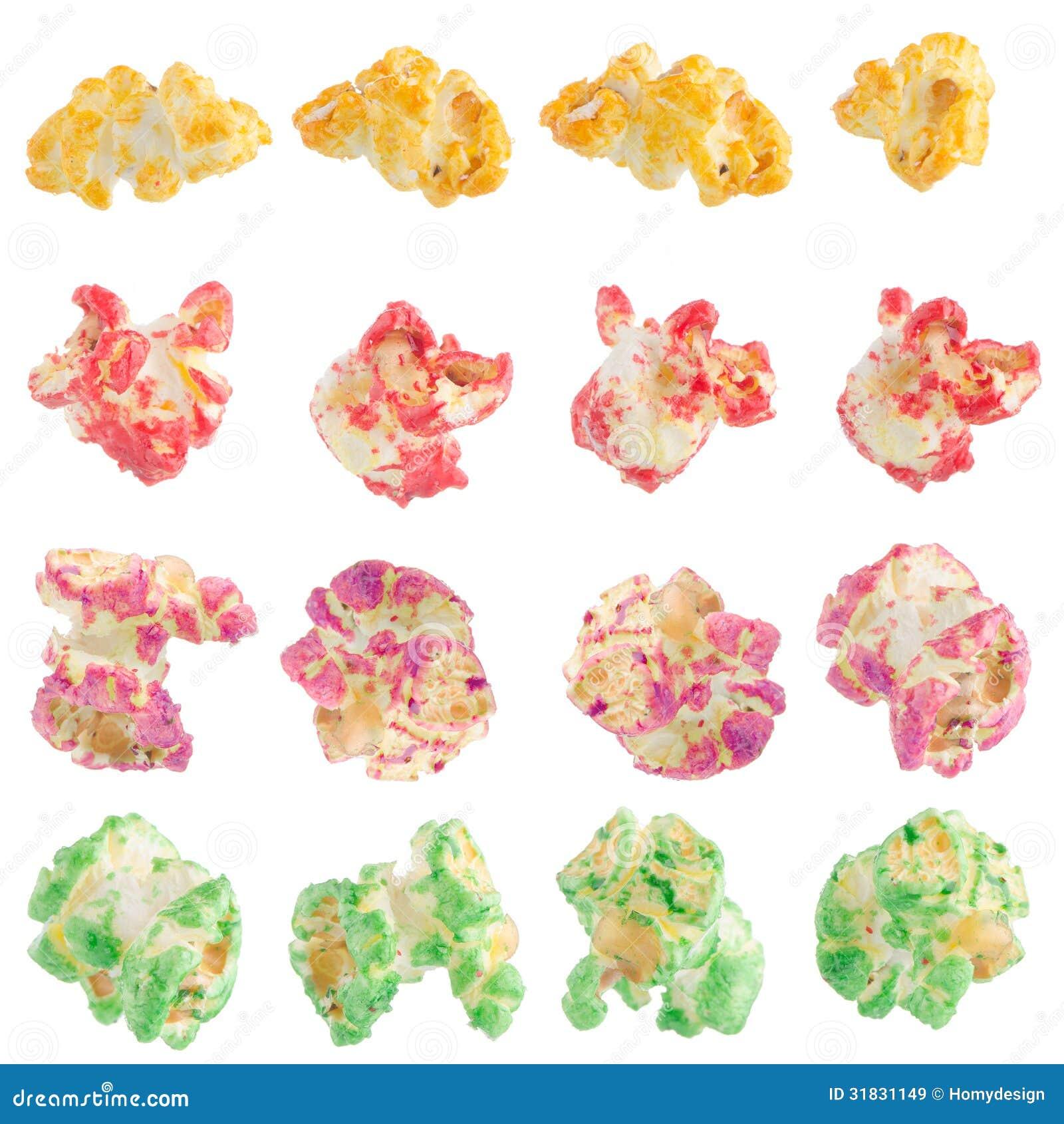 popped color kernels of pop corn - Pop Corn Color