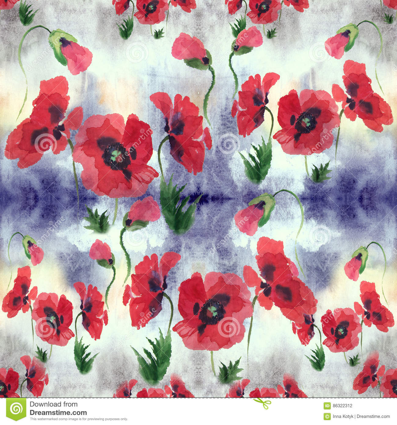 Poppies Flowers Leaves And Buds Drawing On Rice Paper Seamless