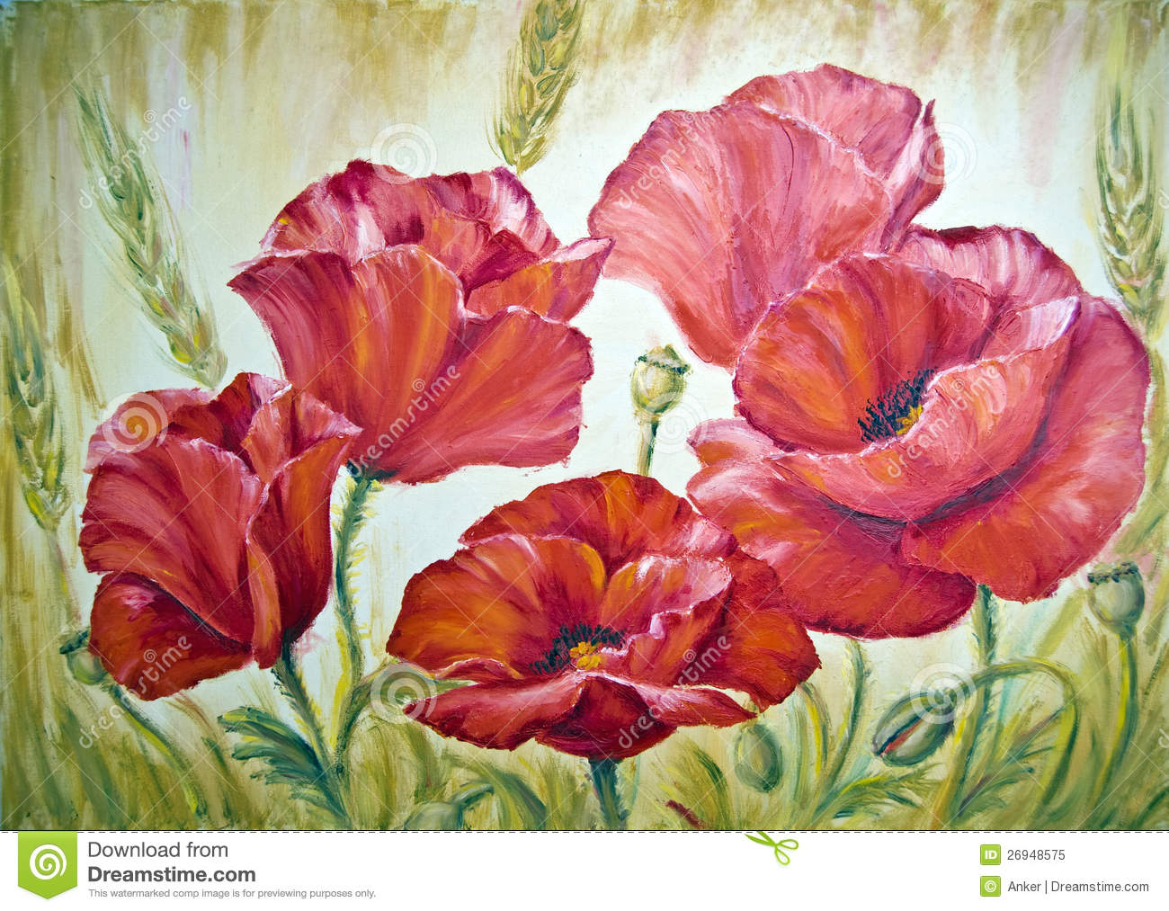 Poppies oil painting on canvas stock illustration illustration of download comp mightylinksfo