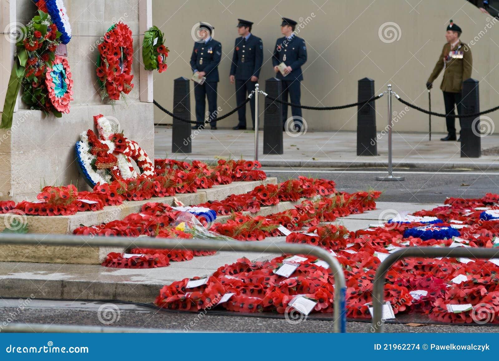 Poppy Appeal on Armistice Day, Whitehall, London.