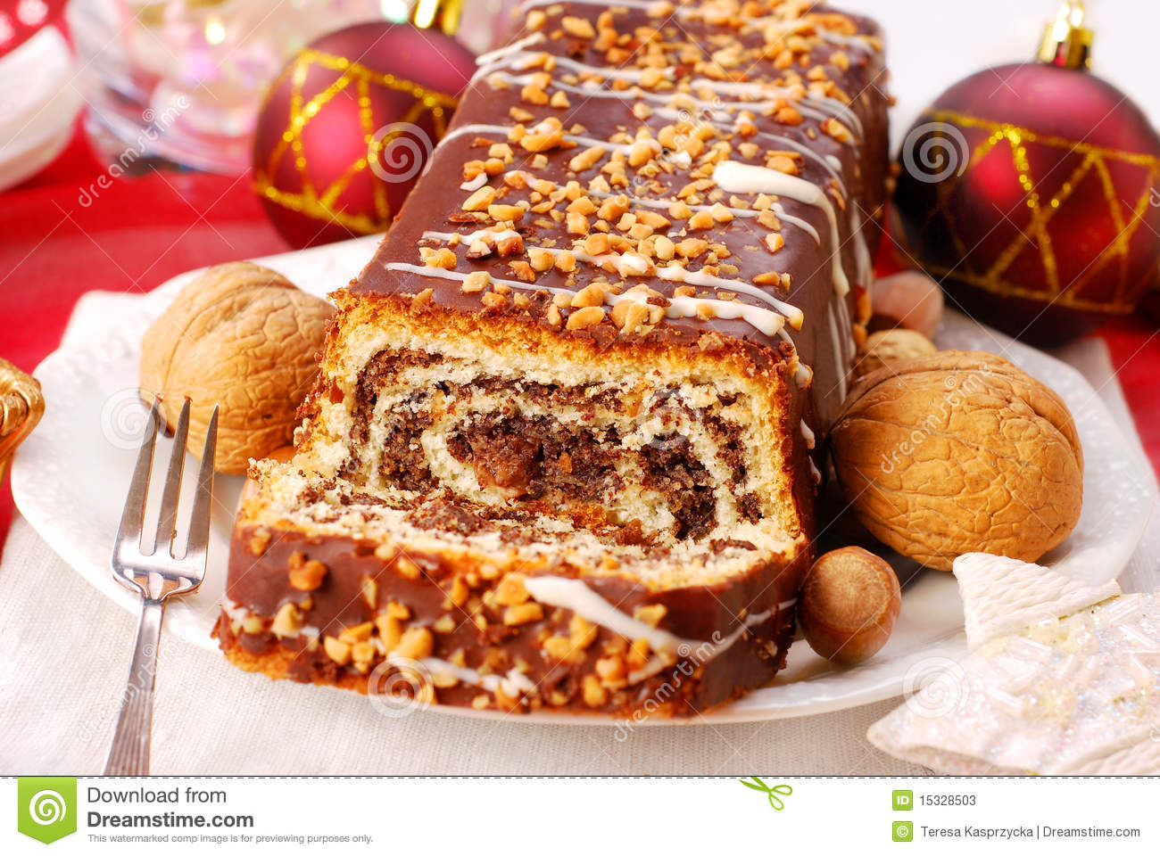 Decorating Christmas Cake Nuts : Poppy cake with nuts for christmas stock photos image