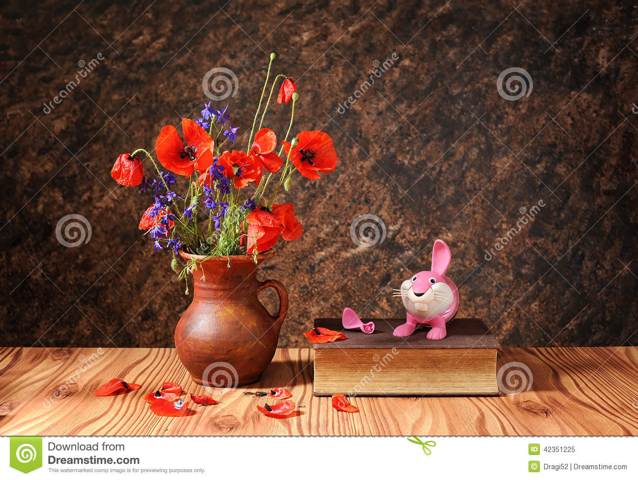 Poppy In A Ceramic Vase And Plastic Toy Stock Image Image Of Decor Beautiful 42351225
