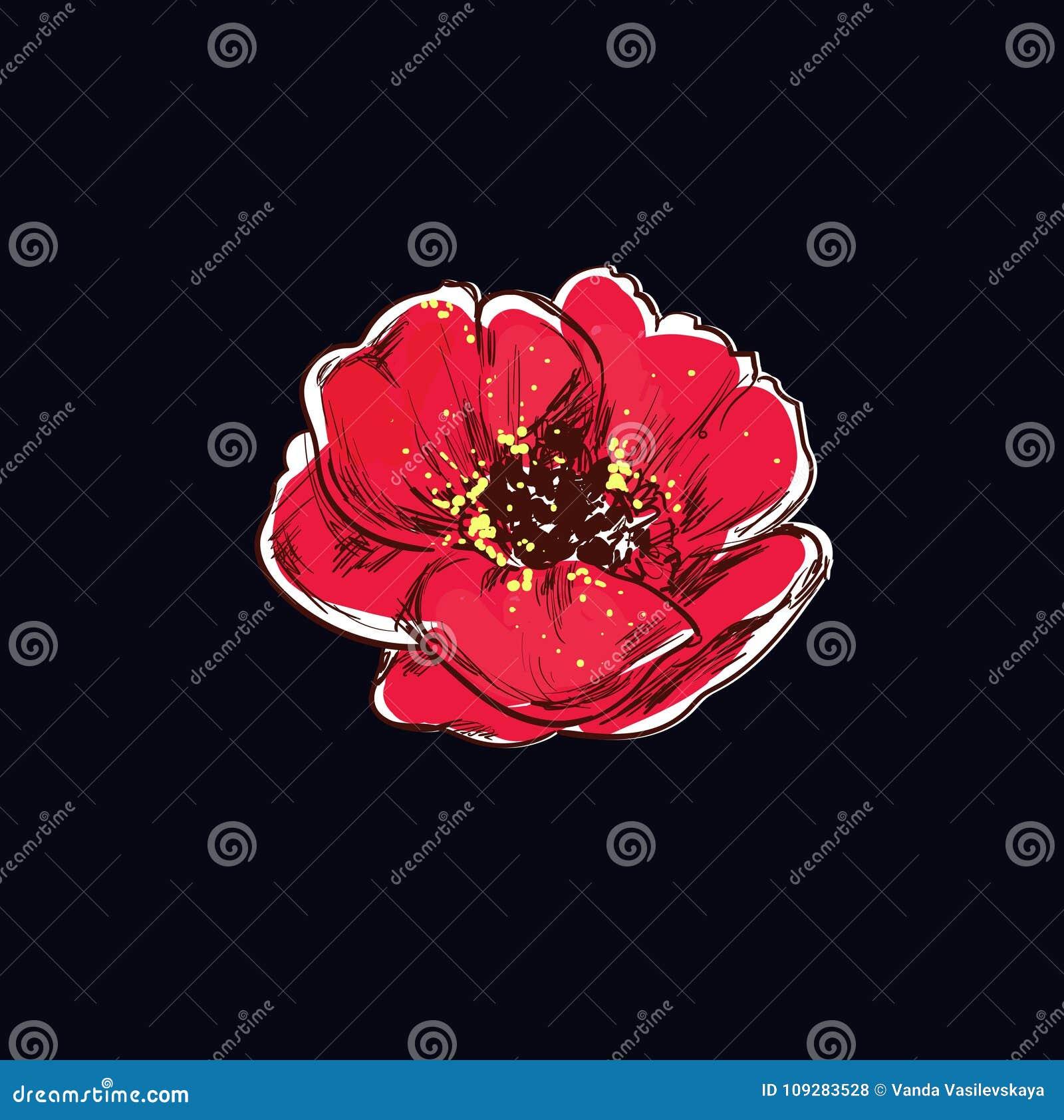 Poppy Flower Tattoo Stock Vector Illustration Of Fashion 109283528