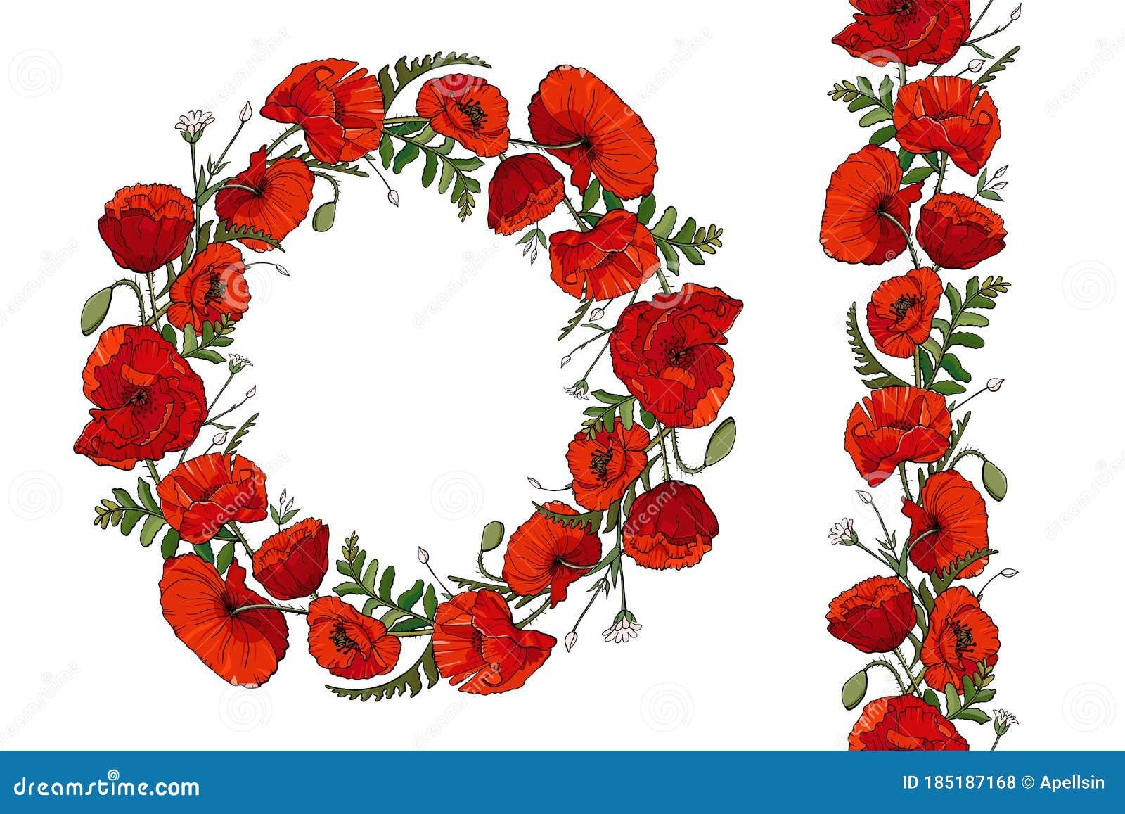 Poppy Flower Wreath And Seamless Brush Stock Vector Illustration Of Botanic Horizontal 185187168