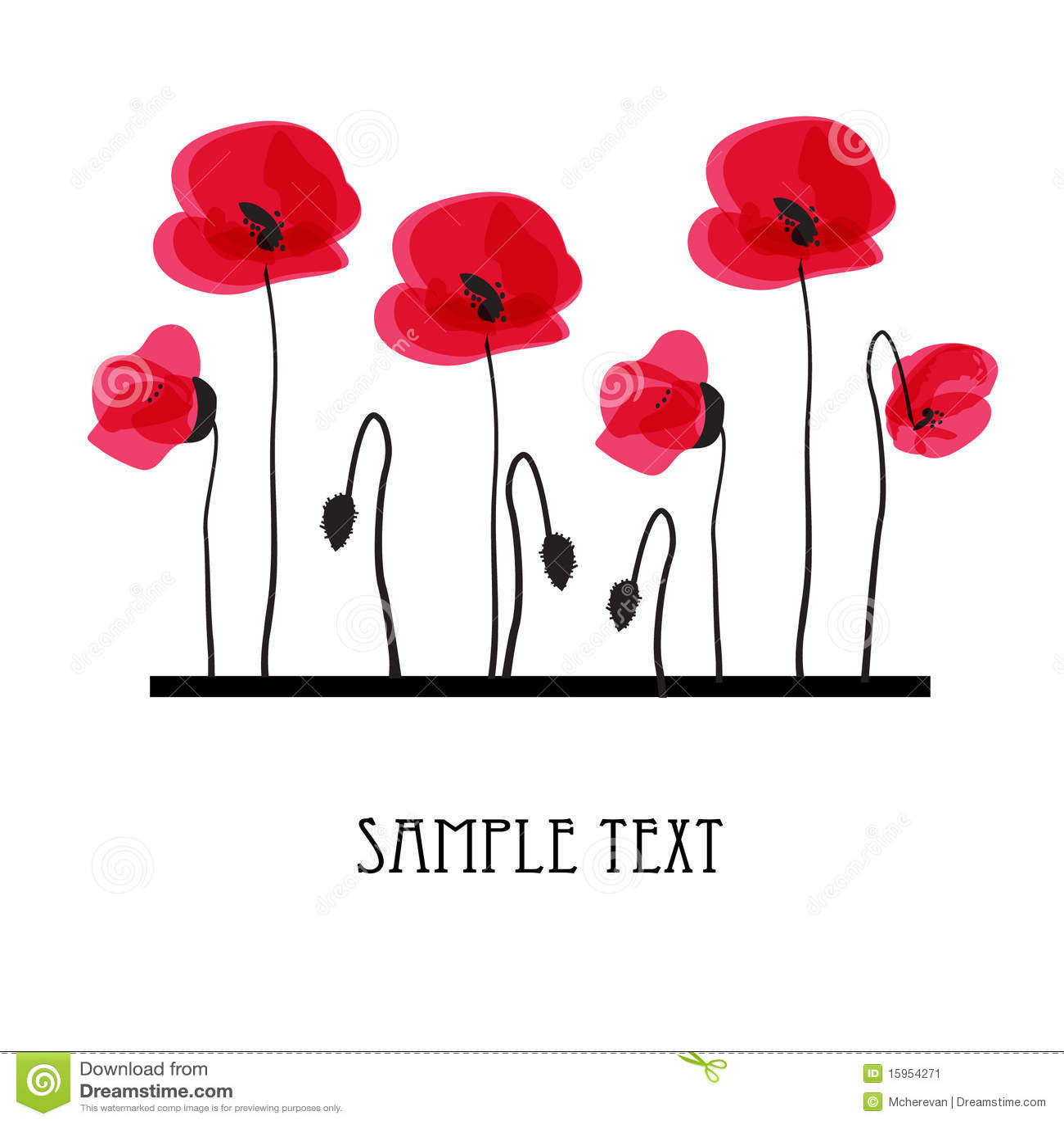Poppy Flowers Design For Greeting Card Stock Vector Illustration
