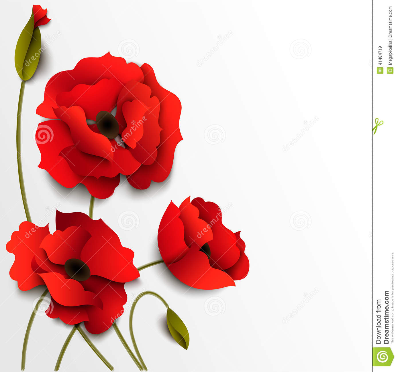 Poppy Flowers Paper Floral Background Stock Vector Illustration