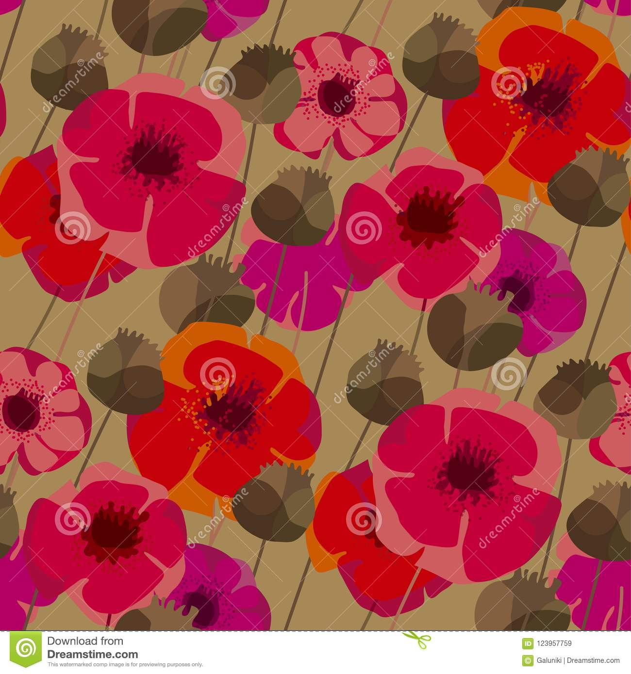 Poppy Flowers And Seed Boxes Seamless Pattern Stock Vector