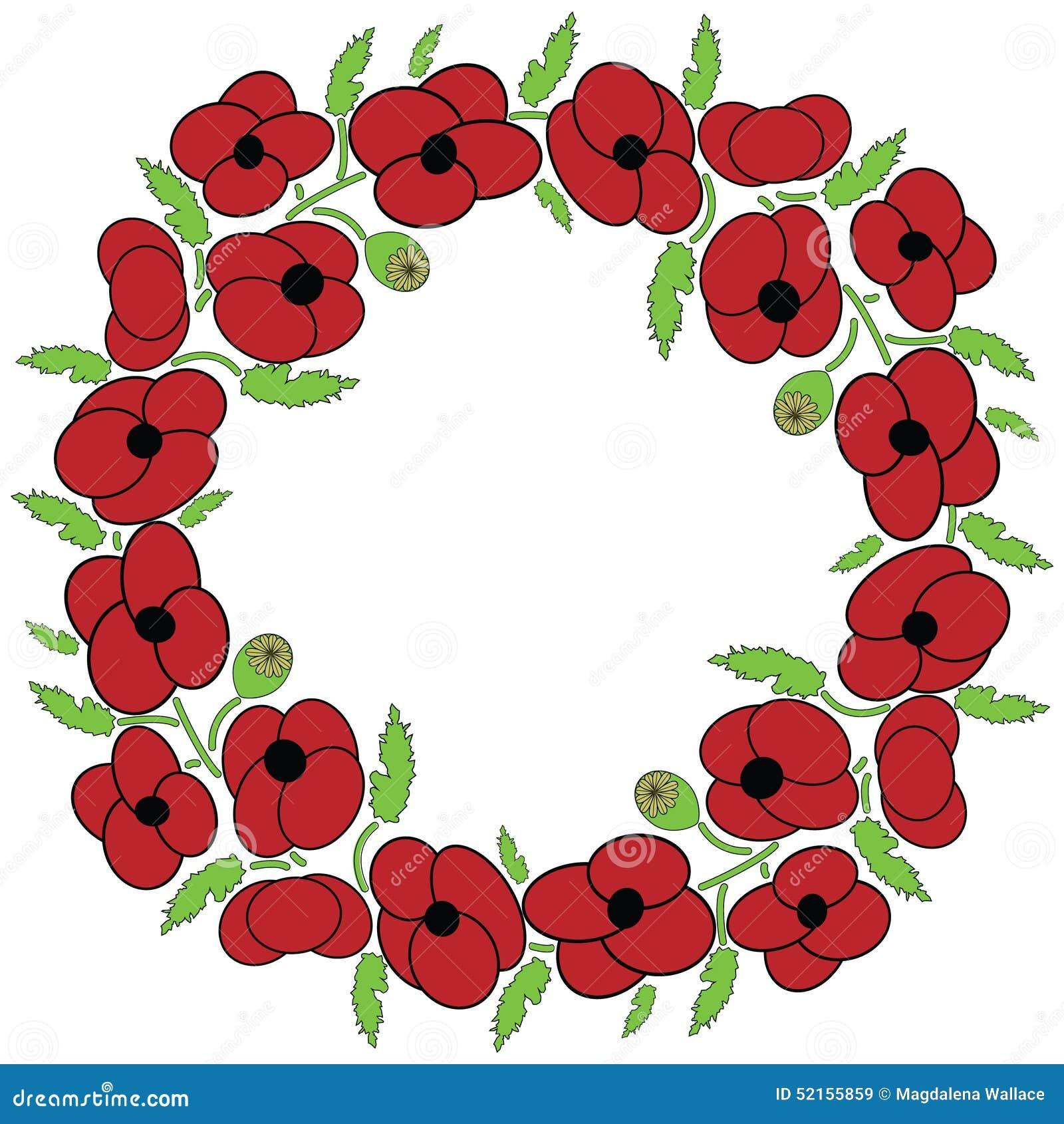 Poppy Flowers Wreath Stock Vector Illustration Of Design 52155859
