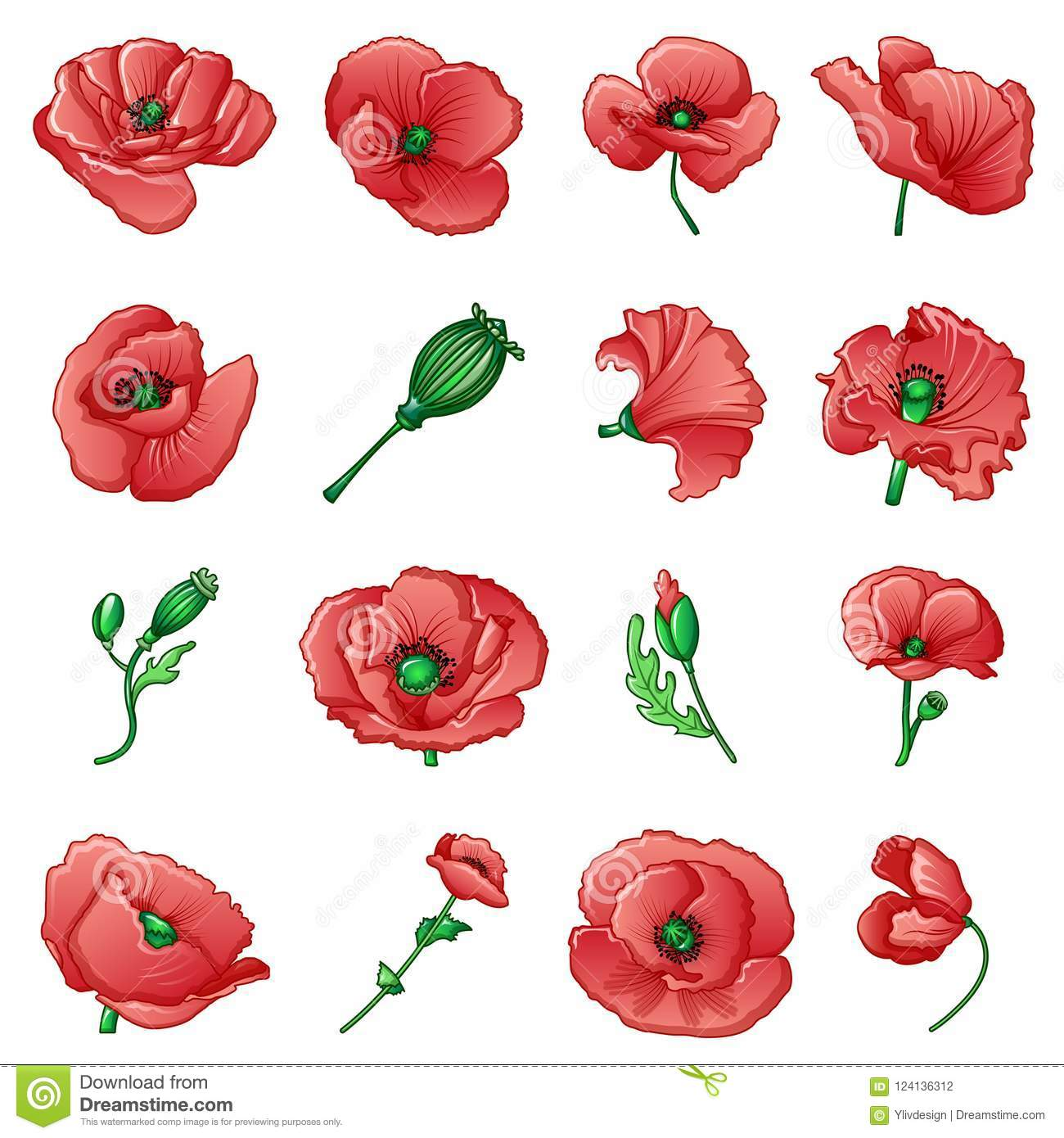 Poppy Remembrance Day Icons Set Cartoon Style Stock Vector