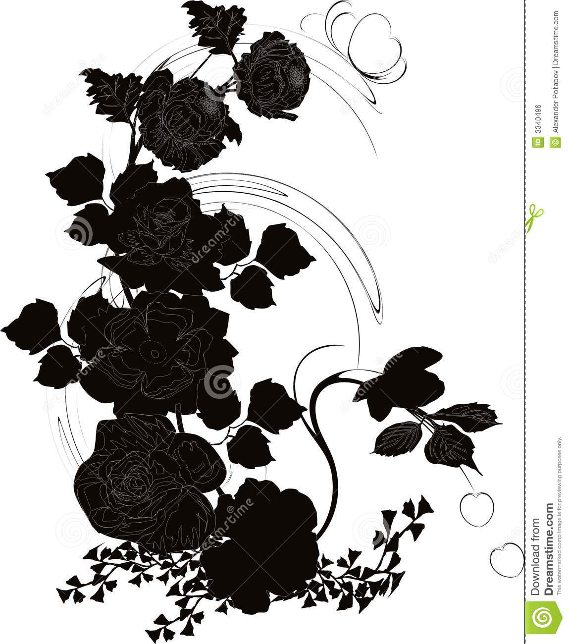 Rose outline vector image - Poppy And Rose Silhouette Royalty Free Stock Image Image