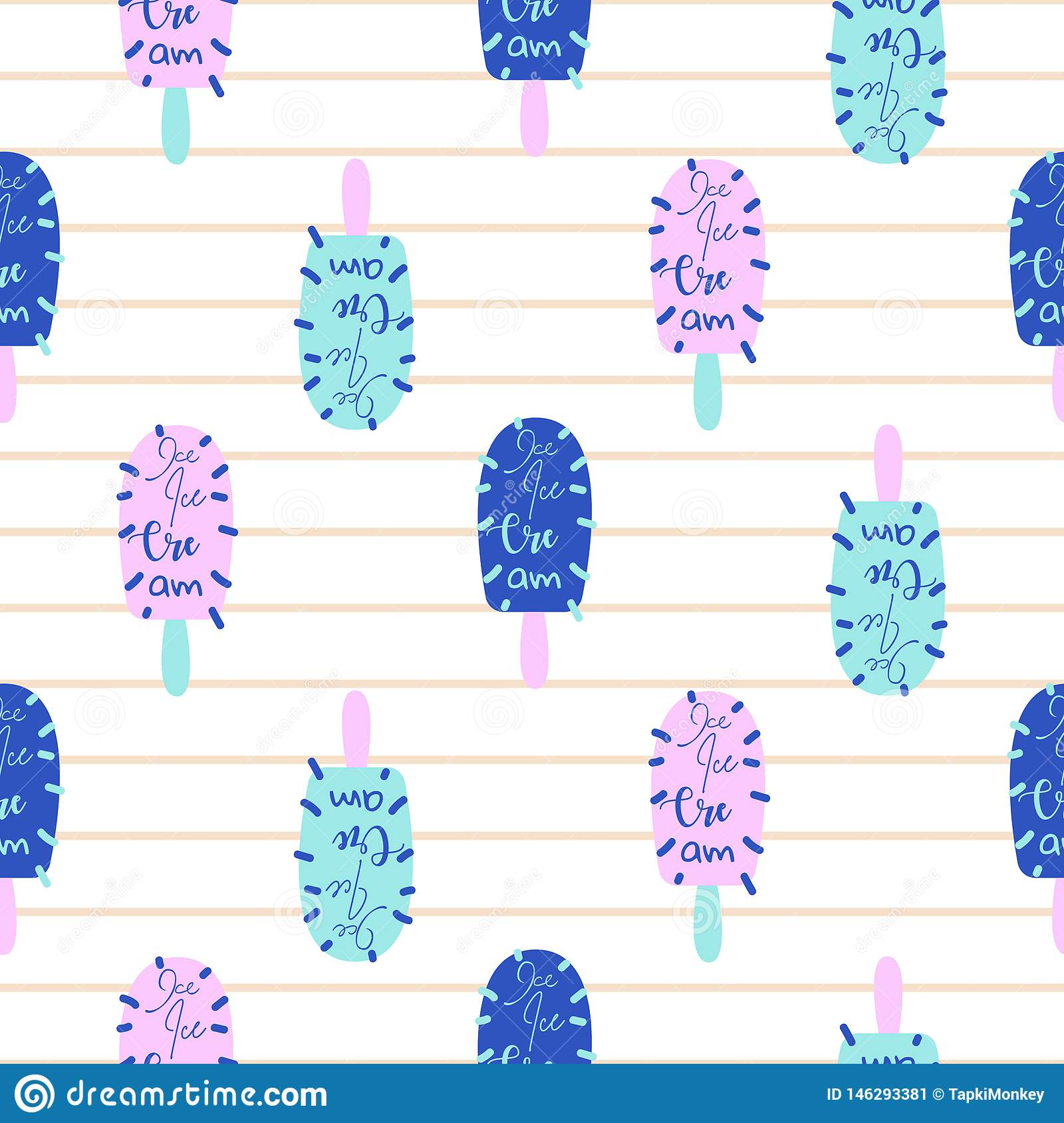 Popsicle fun bright seamless pattern vector. Ice cream pop art blue and pink background.