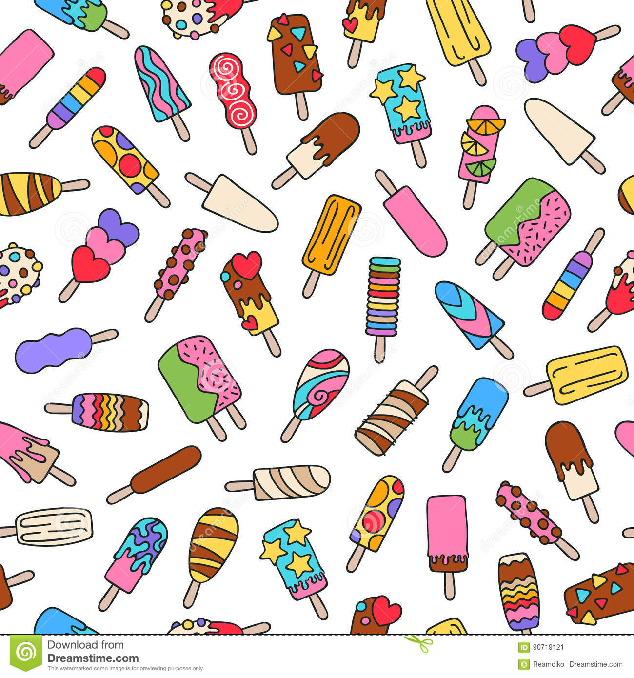 Seamless Wallpaper Pattern With Ice Cream Icons Stock: Popsicle Ice Cream Icons Pattern. Stock Vector