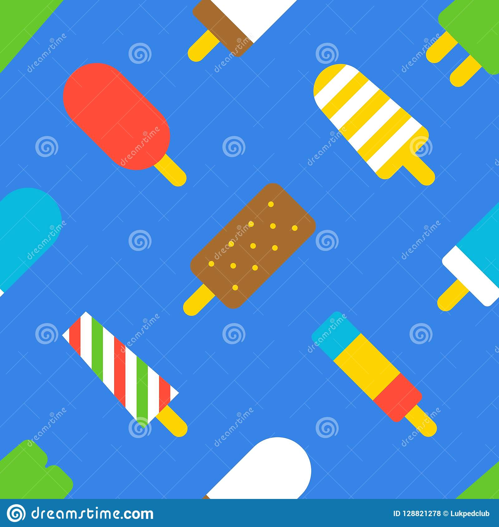 Popsicle Ice Cream Seamless Pattern, Flat Design Summer Theme For