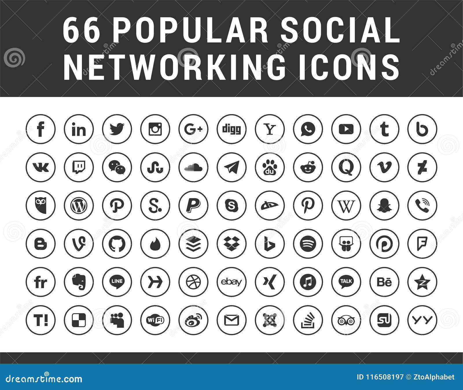 66 populäres Social Media, gesetzte Ikonen Kreis der Vernetzung