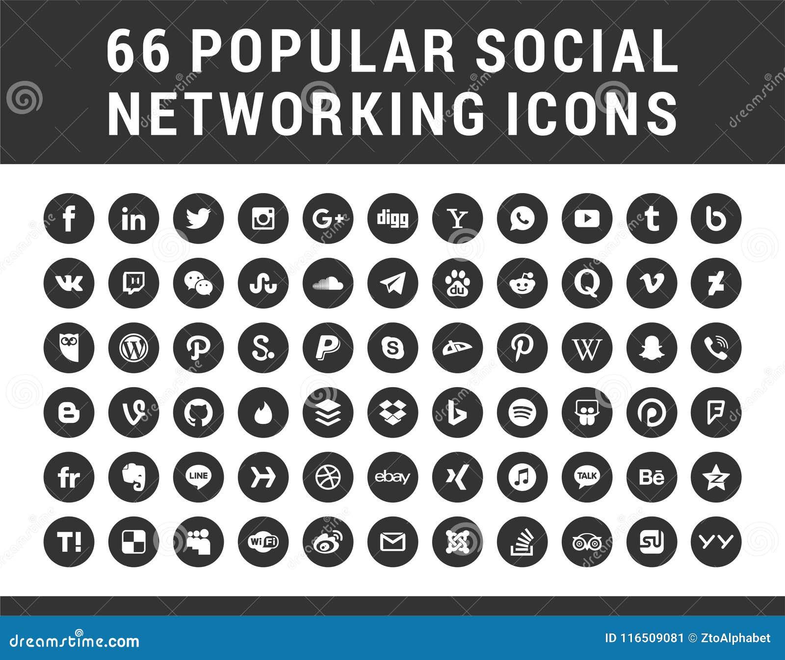 66 populaire Sociale Media, Pictogrammen van Voorzien van een netwerk de vastgestelde cirkelvormen