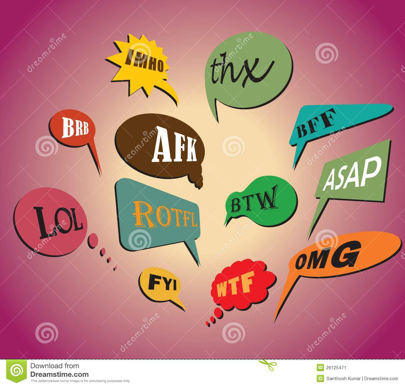 Download Popular Acronyms Abbreviations In Speech Bubbles Stock Vector