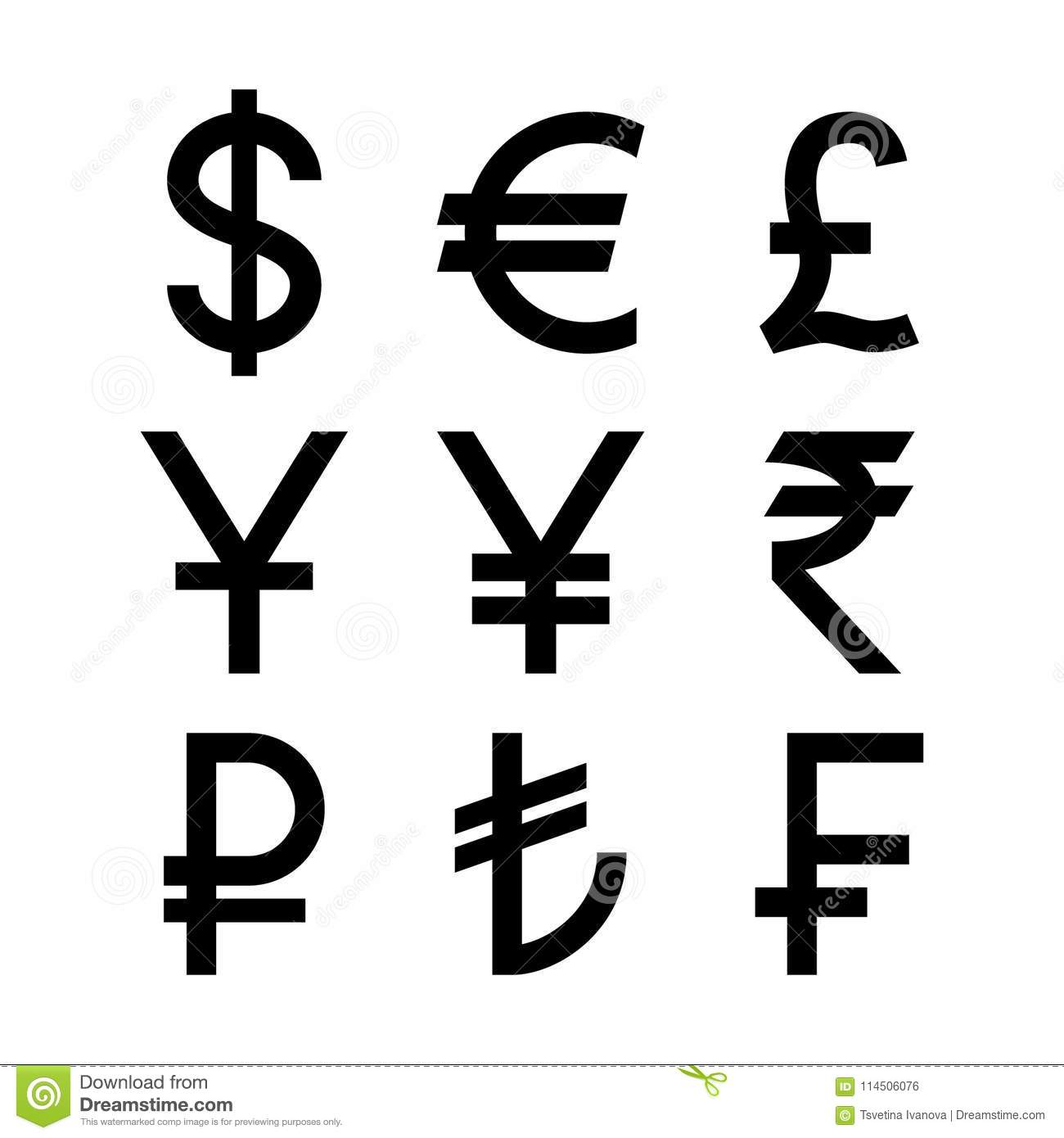 Popular Countries Currencies Symbols  Black Isolated