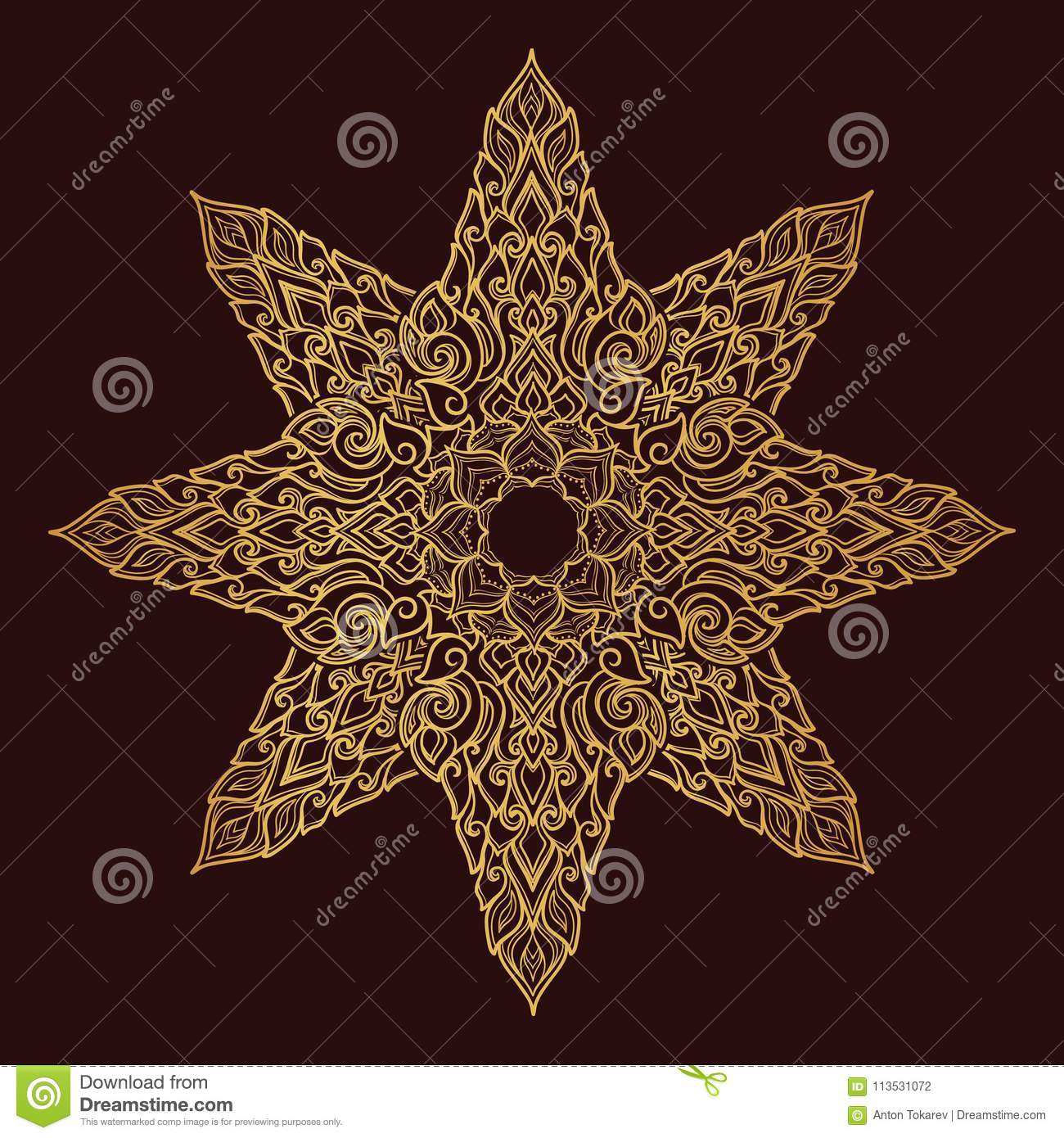 Popular decorative motif in South Eastern Asia. Intricate star shaped ornament. Hand drawing. Golden mandala Isolated on