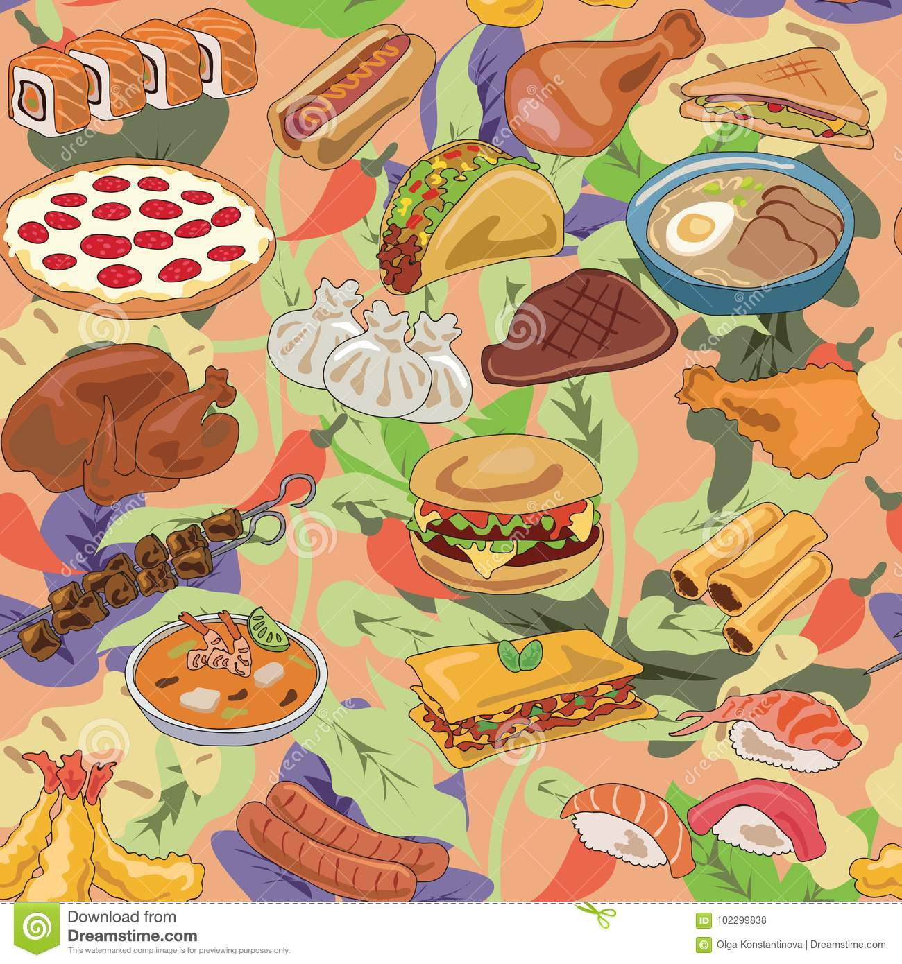 Popular food of different countries pattern