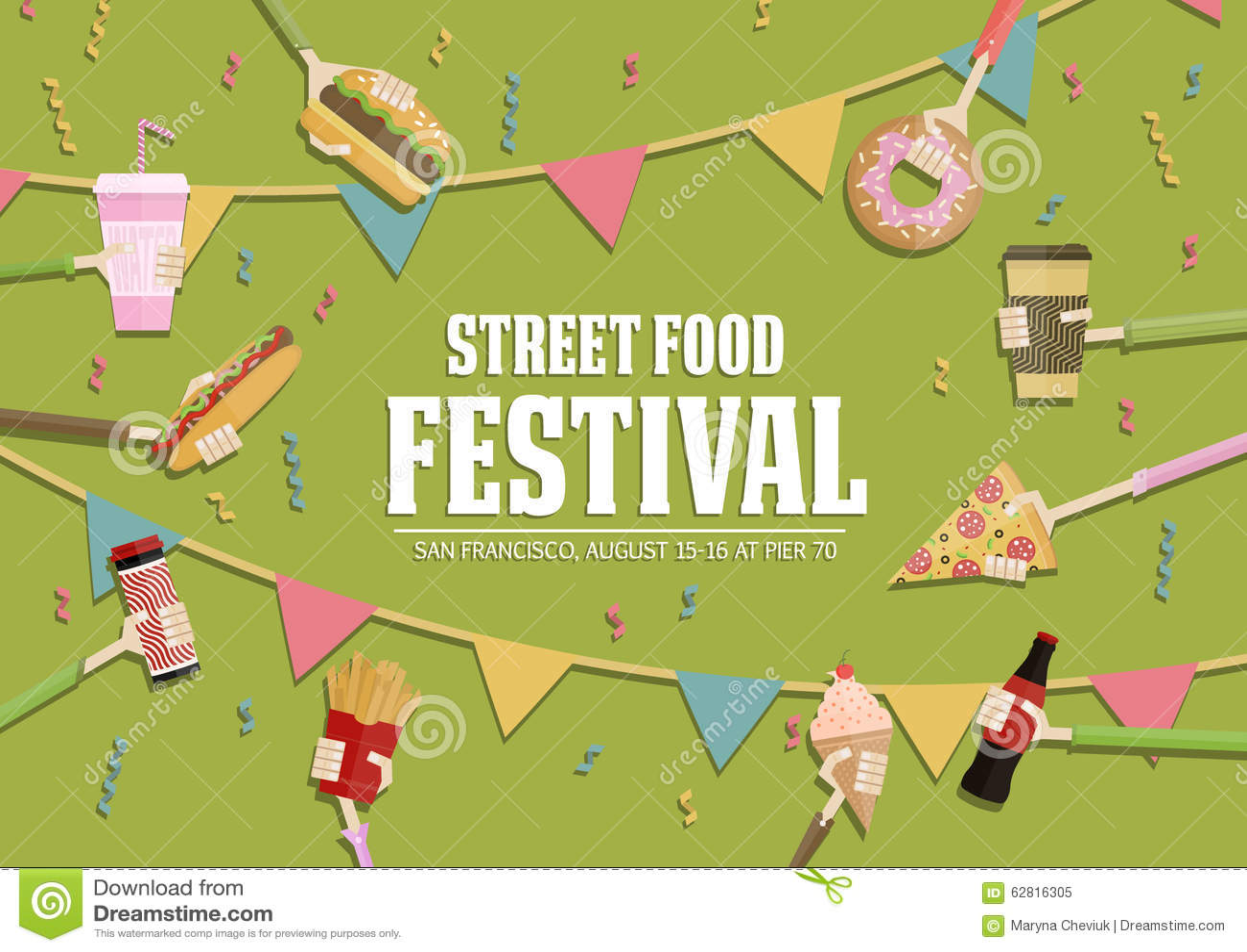 Download Popular Food Web Banner Set Flat Design Festival Poster Stock Illustration