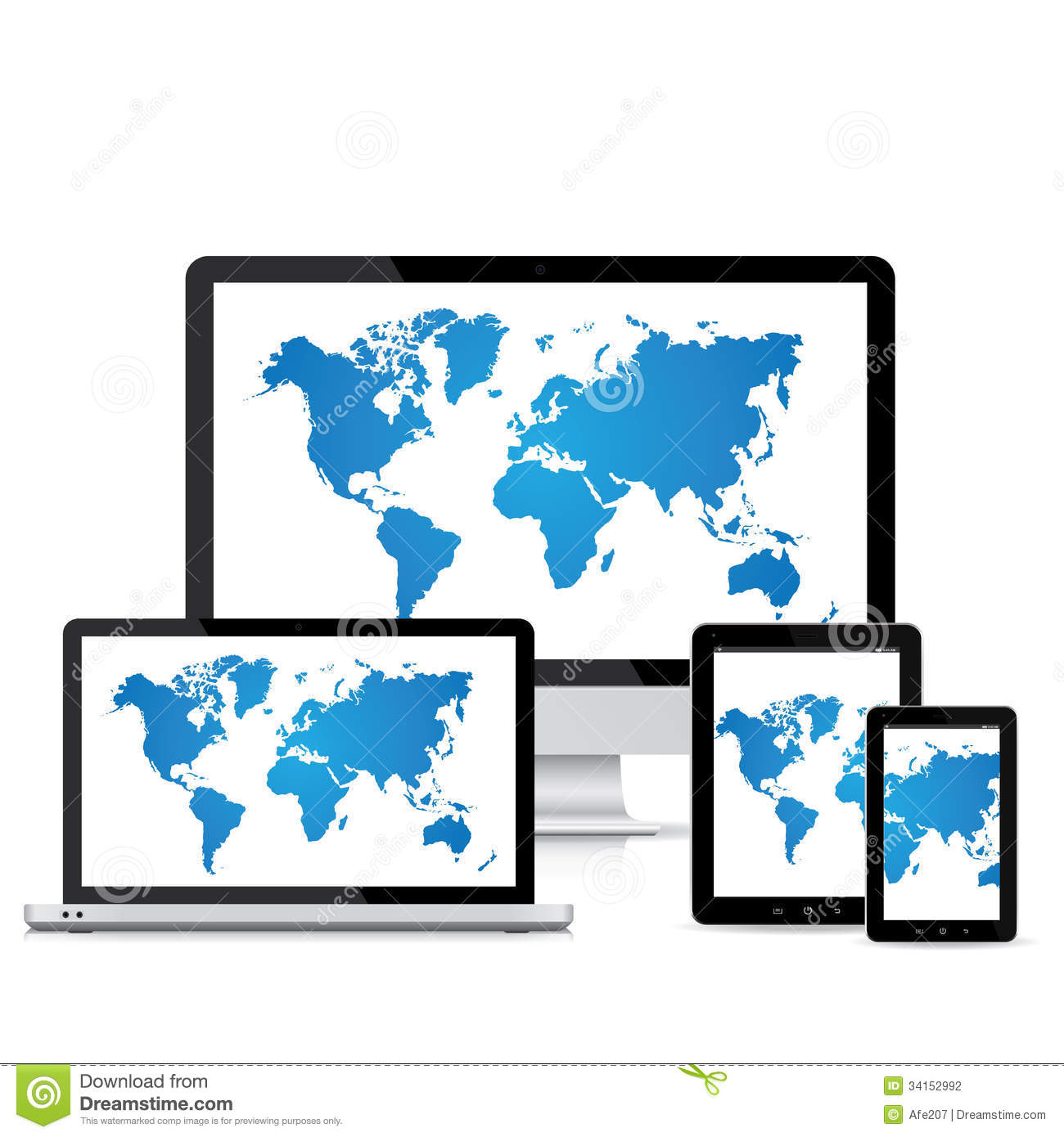 Popular full responsive web design electronic devices vector
