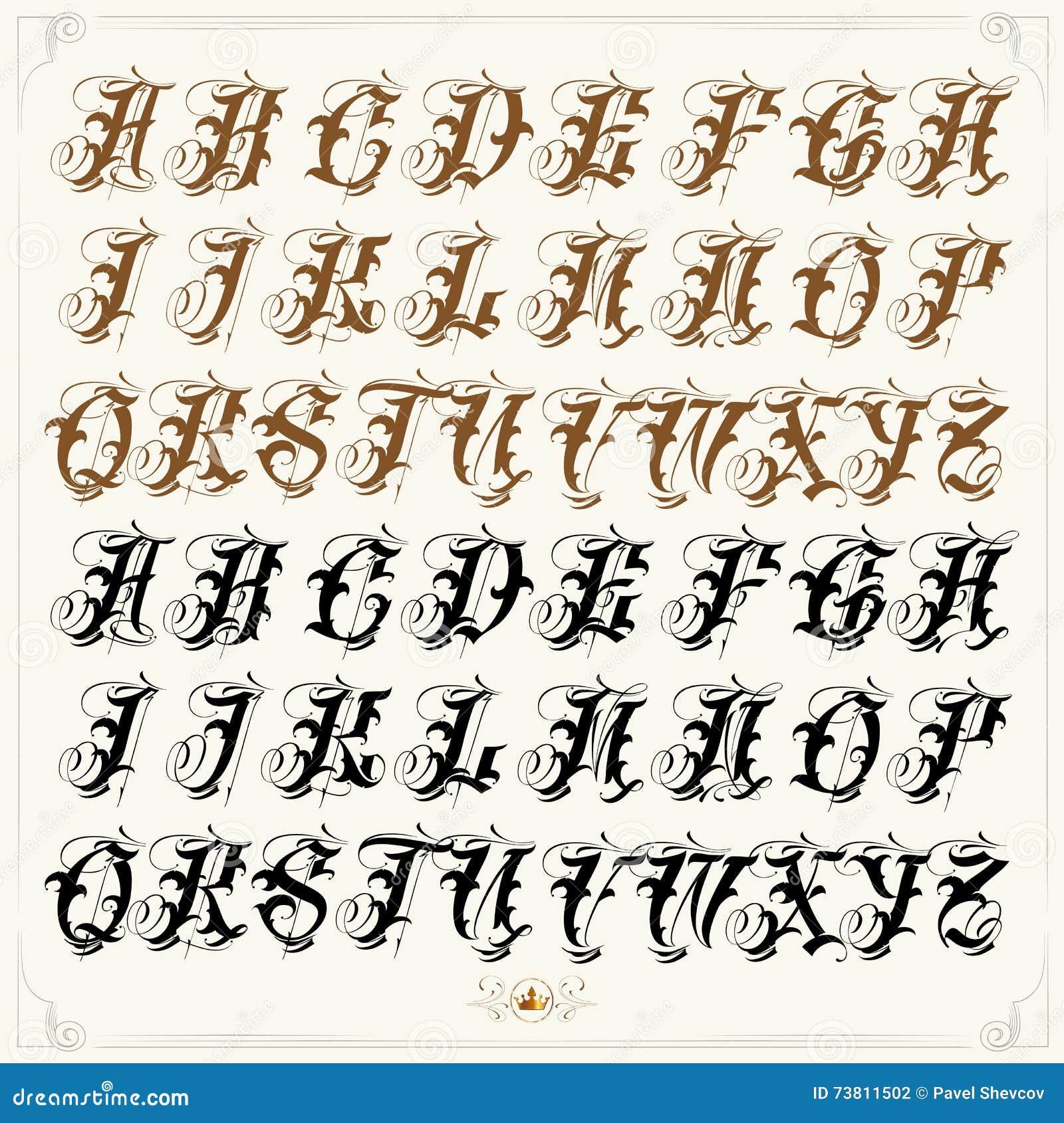 gang style tattoo writing alphabet