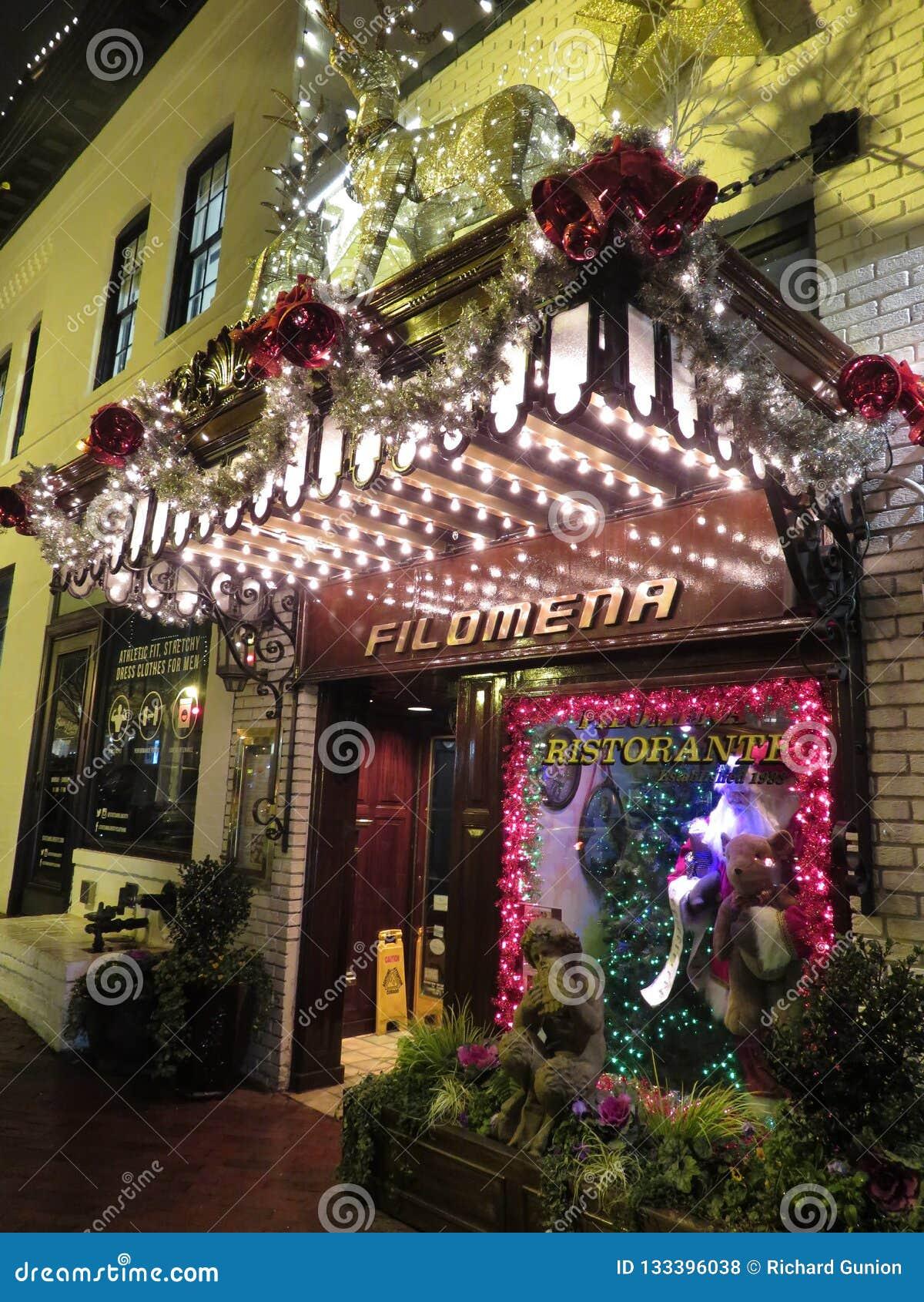 Popular Georgetown Restaurant At Night Editorial Stock Photo