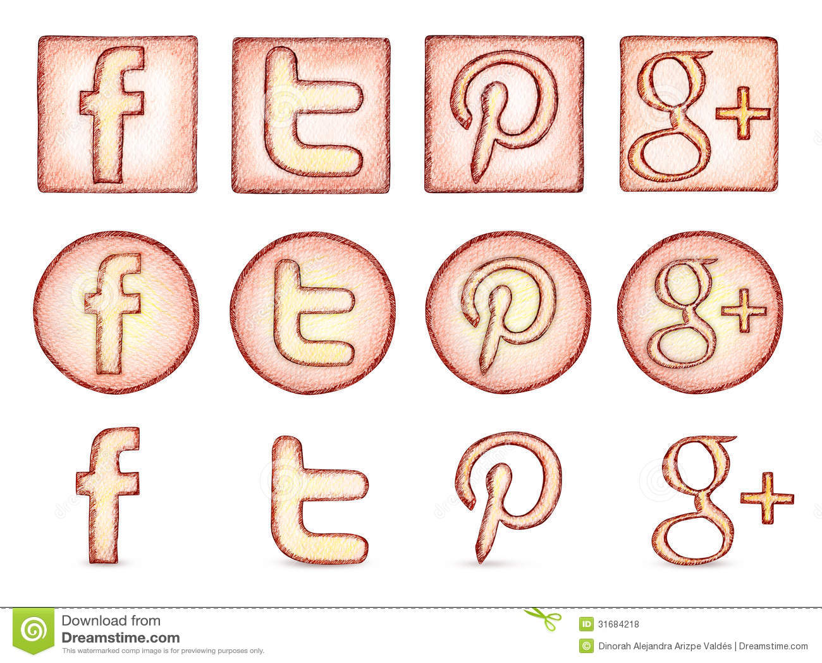 Popular social network icons