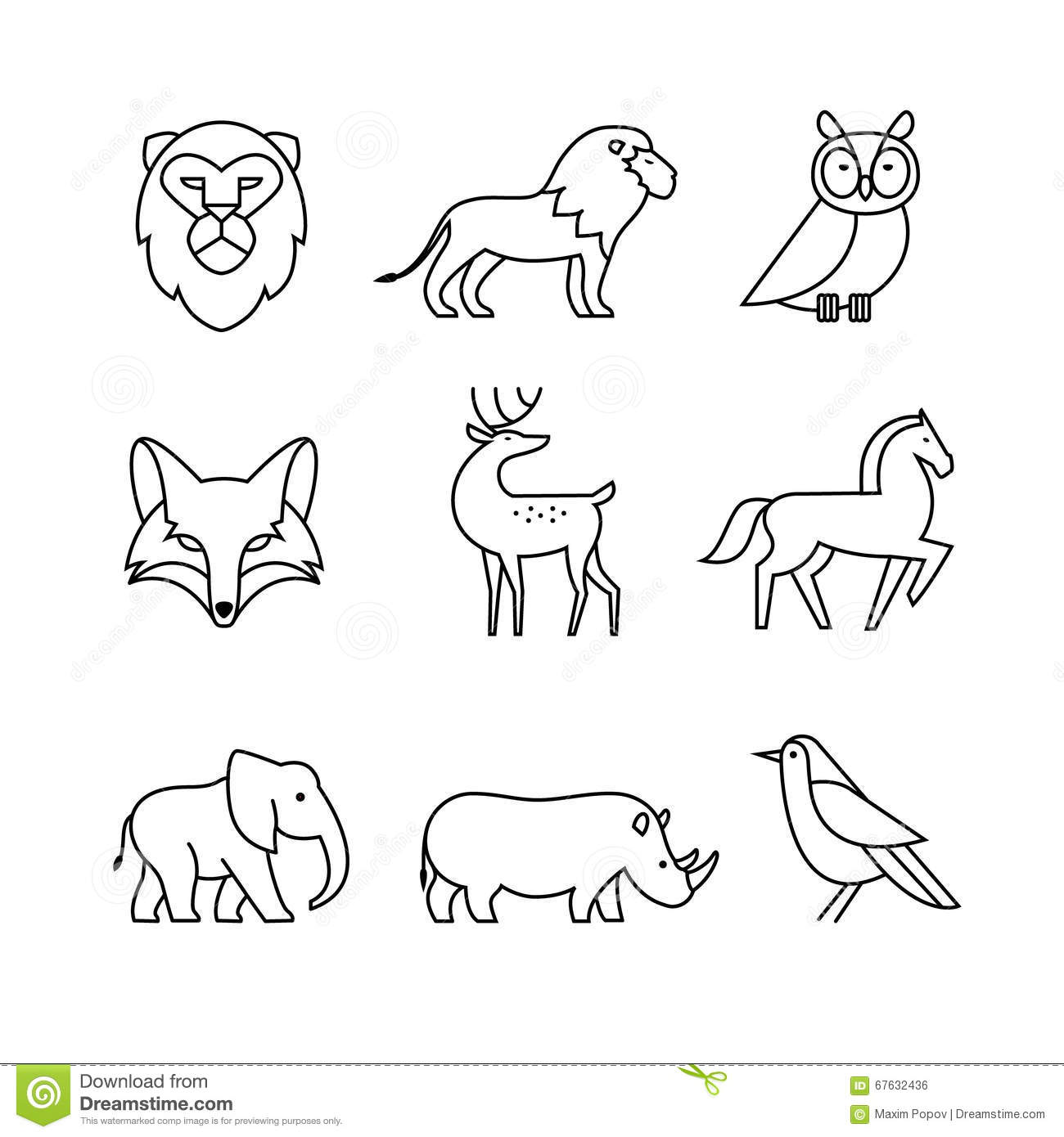 Line Art Icons : Popular wild life animals thin line art icons set stock