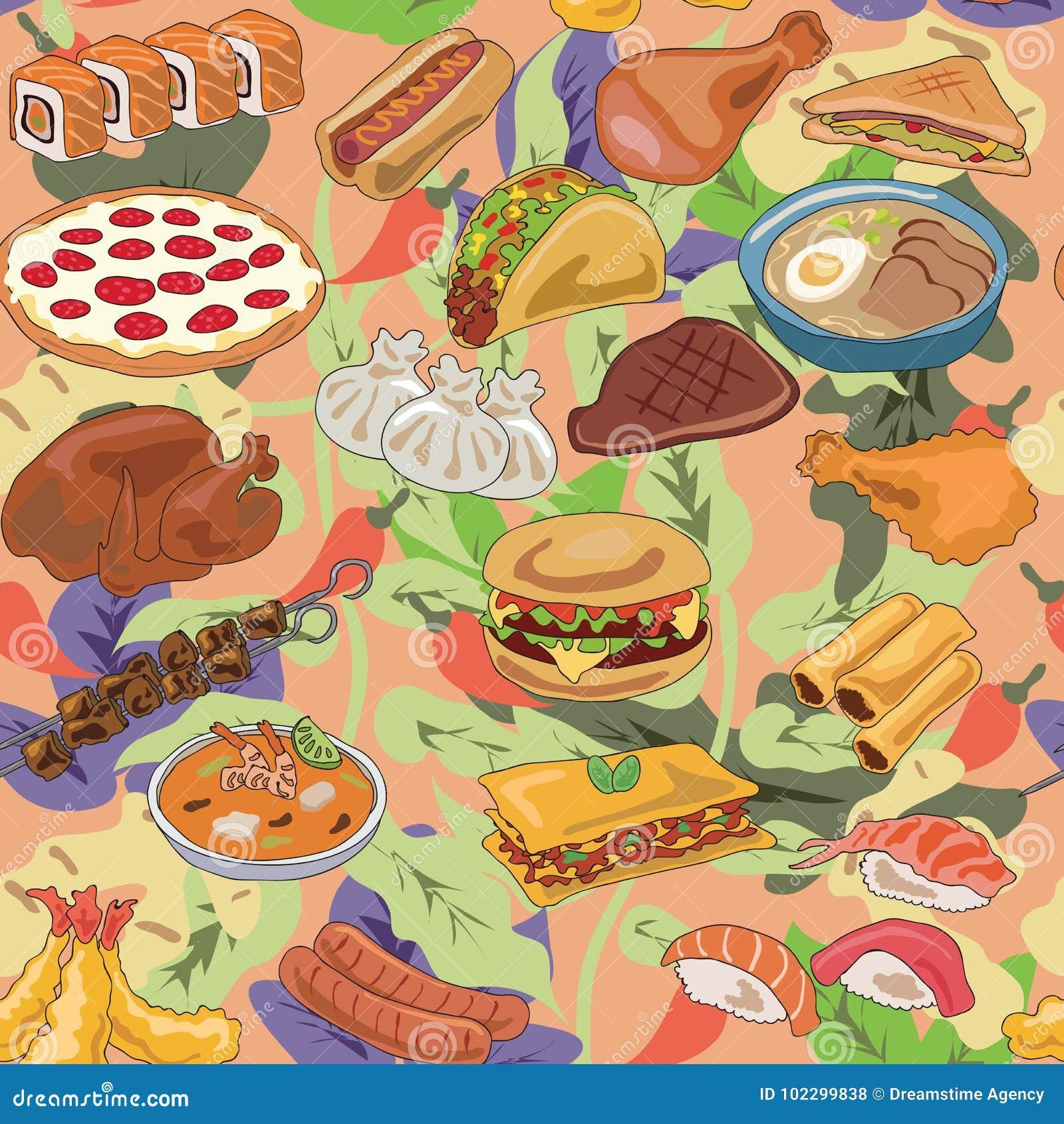 Popularny jedzenie różny kraju wzór