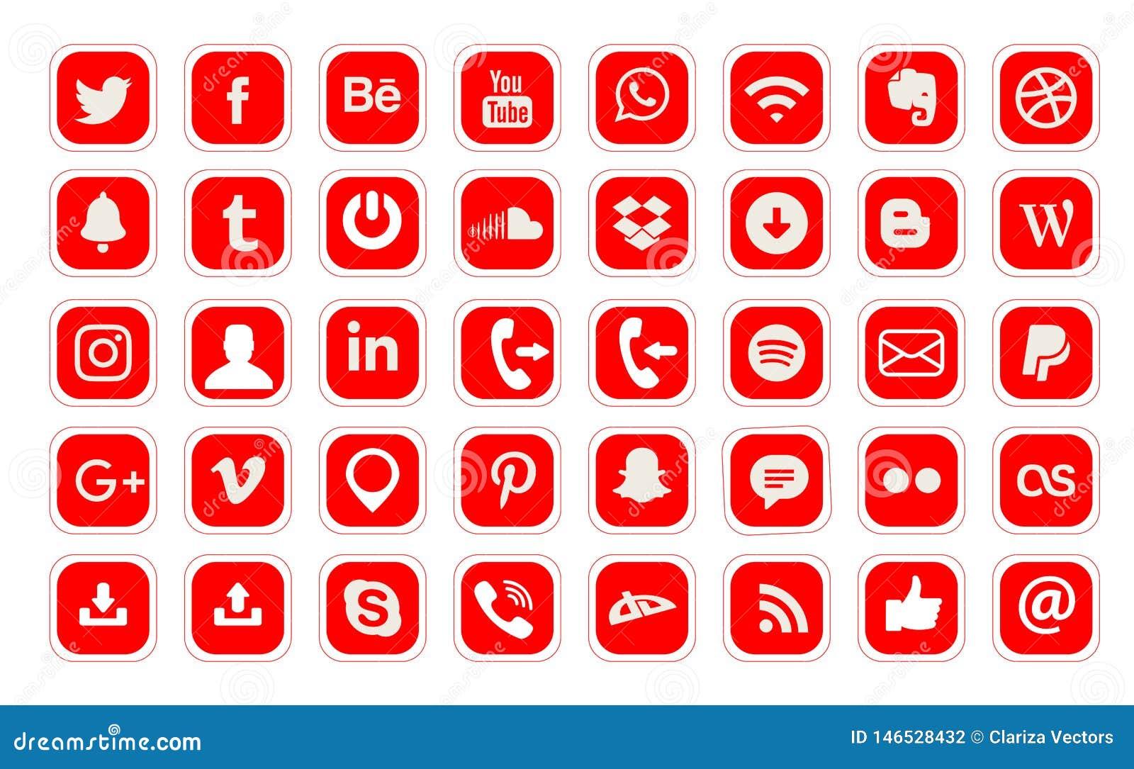 40 popularnych og?lnospo?ecznych medialnych logo sieci wektorowa ikona