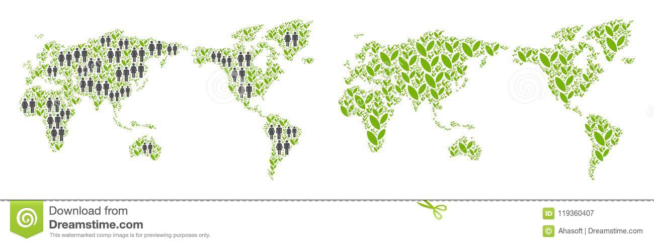 Agriculture World Map.Population And Agriculture World Map Stock Vector Illustration Of
