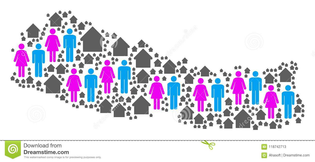 Population Nepal Map stock vector  Illustration of house