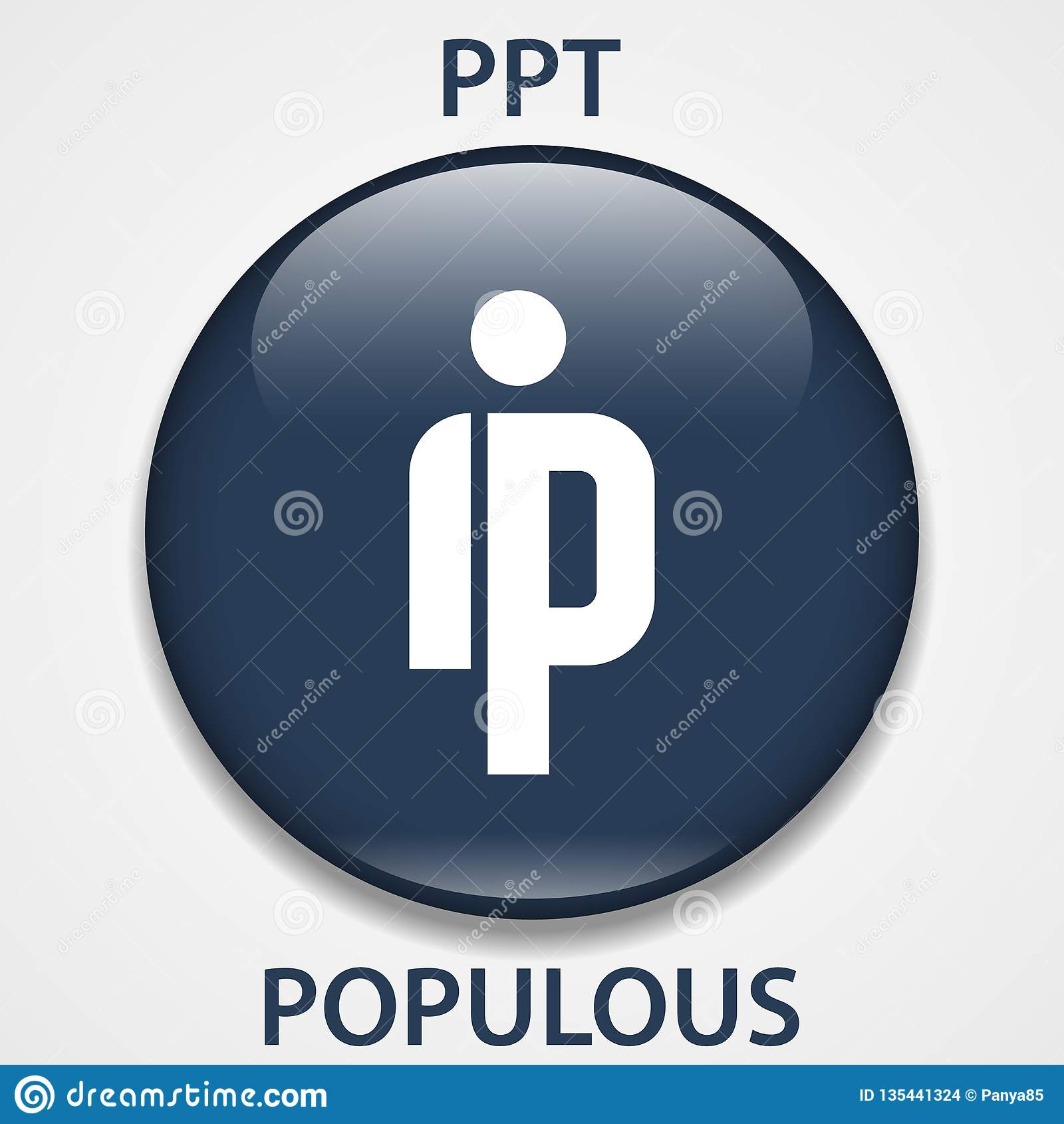 Populous Coin cryptocurrency blockchain icon. Virtual electronic, internet money or cryptocoin symbol, logo