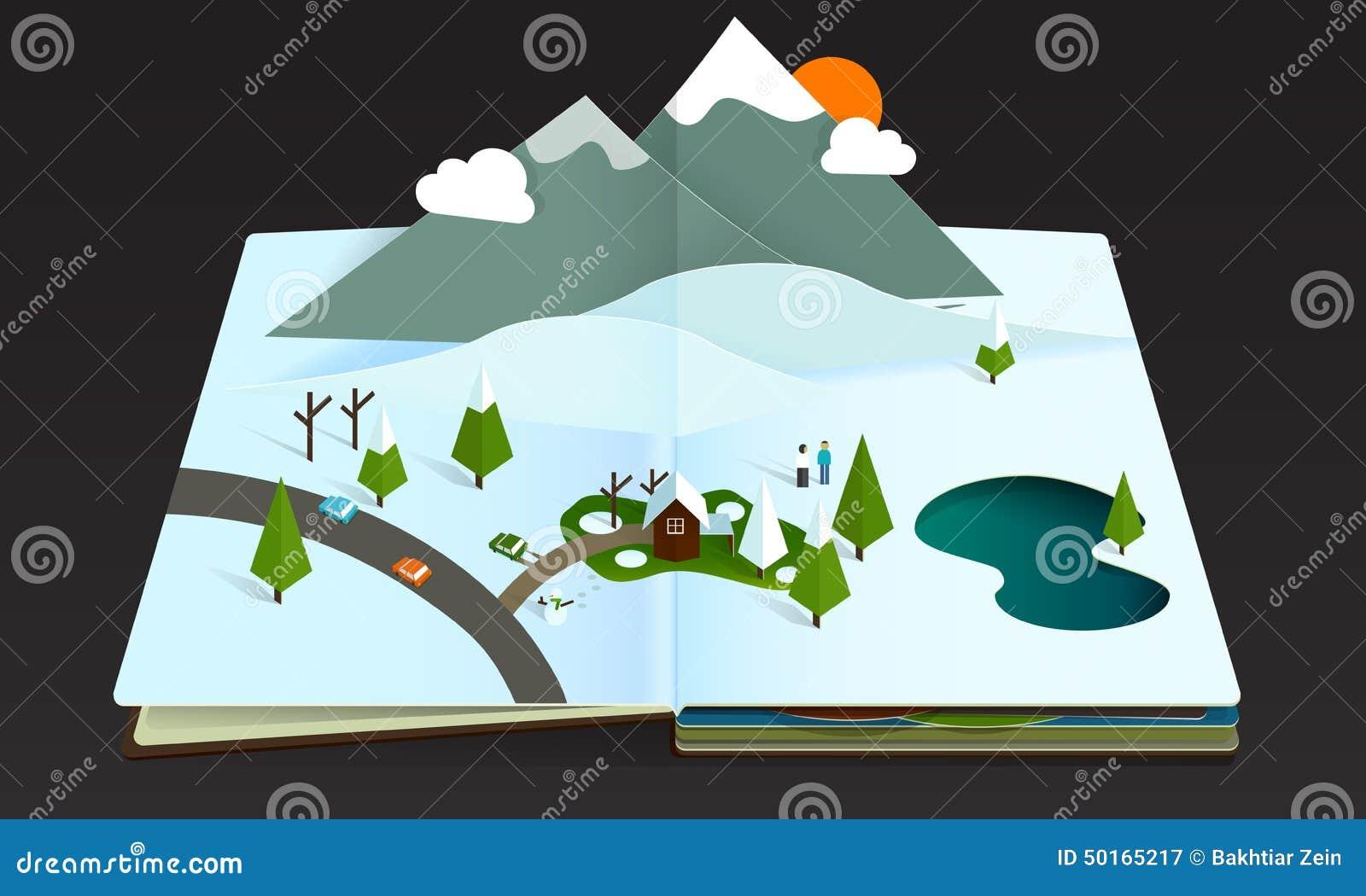 Popup Buchwald Berg Wintwr Schnee Vektor Abbildung Illustration