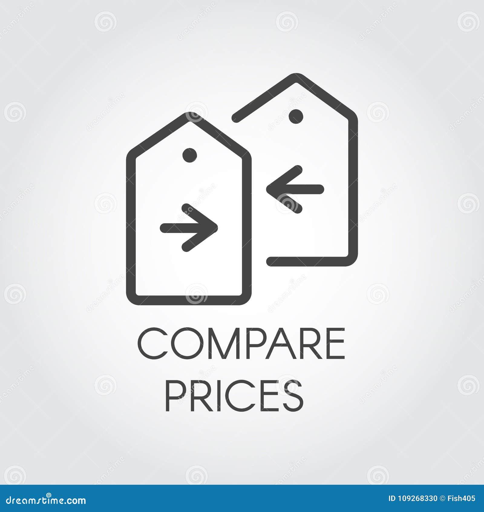 Porównuje ceny ikony rysunek w kreskowym projekcie Pieniężny porównanie konturu piktogram Metka z strzałkowatą etykietką