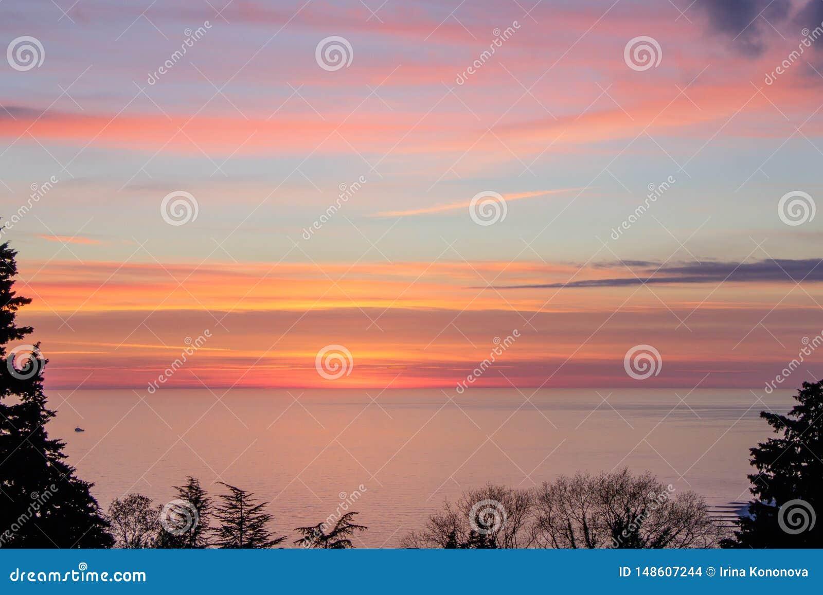 Por do sol brilhante da aquarela sobre o mar, quadro por silhuetas das plantas