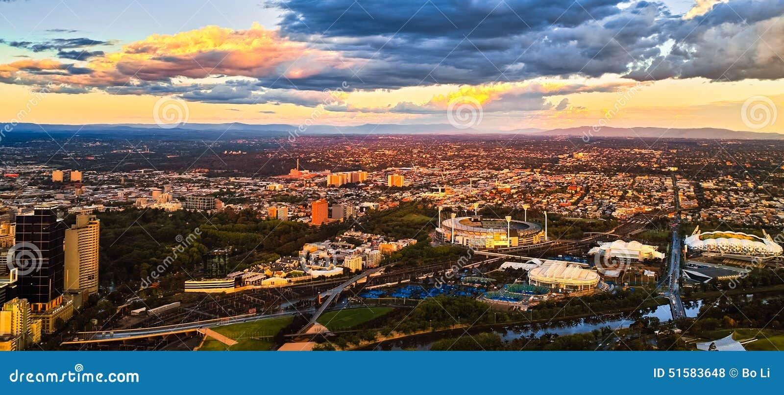 Por do sol da cidade de Melbourne