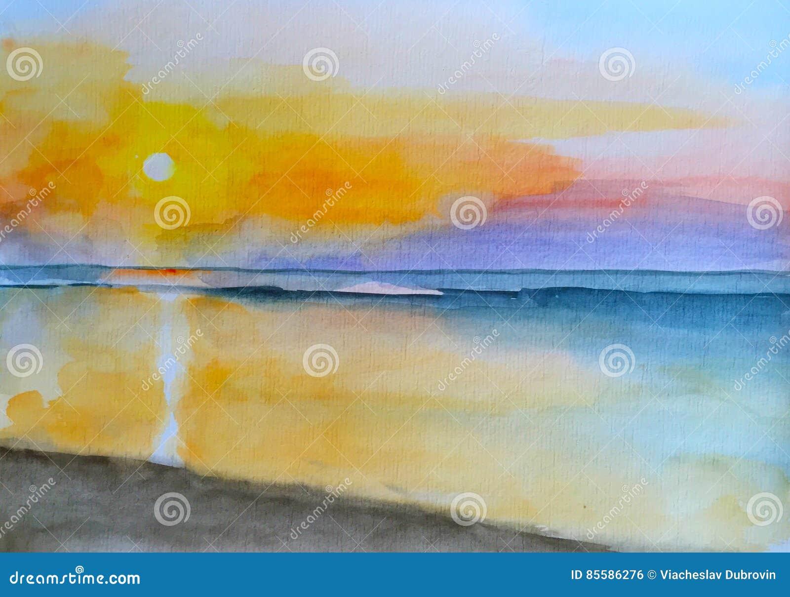 Por do sol da pintura da aquarela na paisagem pintado à mão da praia