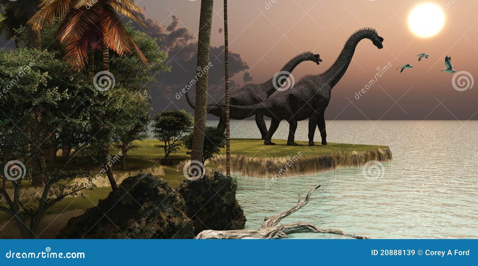 Por do sol de Brachiosaurus